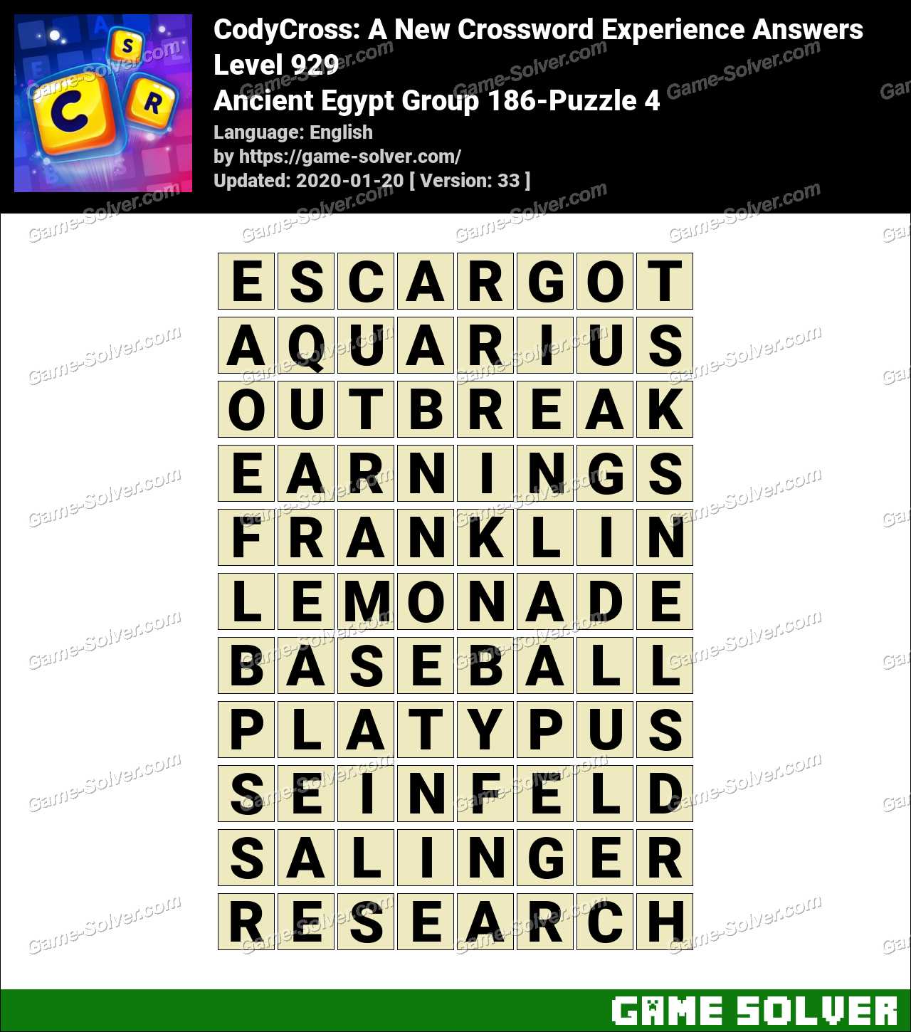 CodyCross Ancient Egypt Group 186-Puzzle 4 Answers