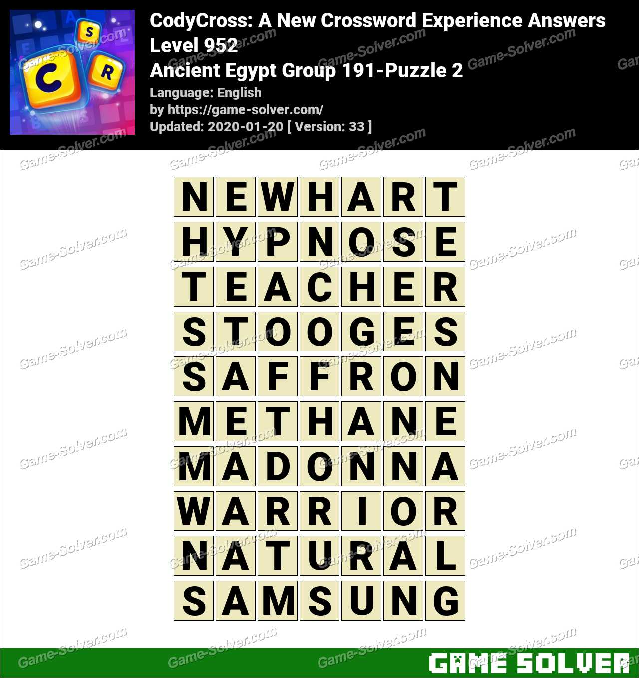 CodyCross Ancient Egypt Group 191-Puzzle 2 Answers