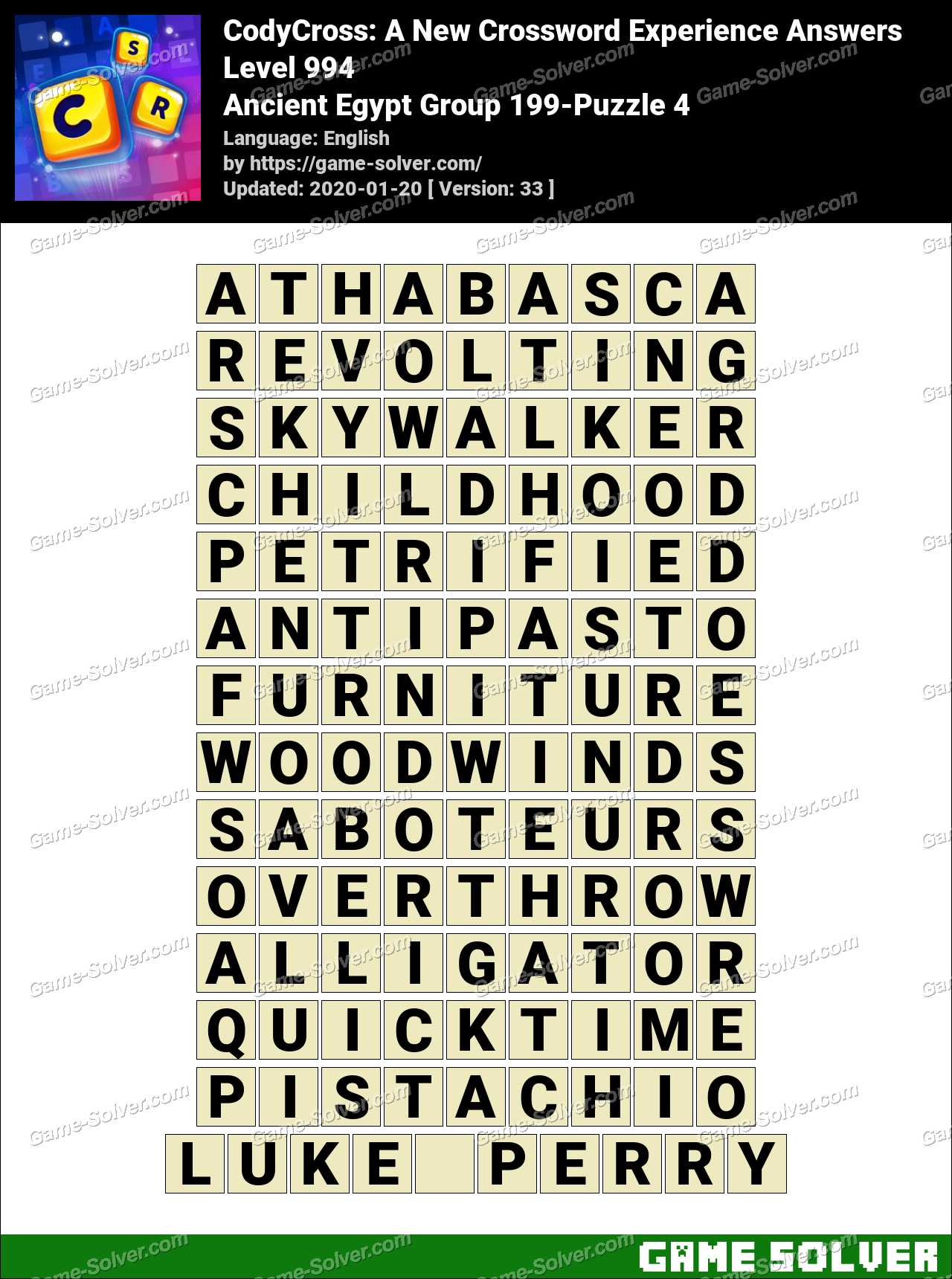 CodyCross Ancient Egypt Group 199-Puzzle 4 Answers
