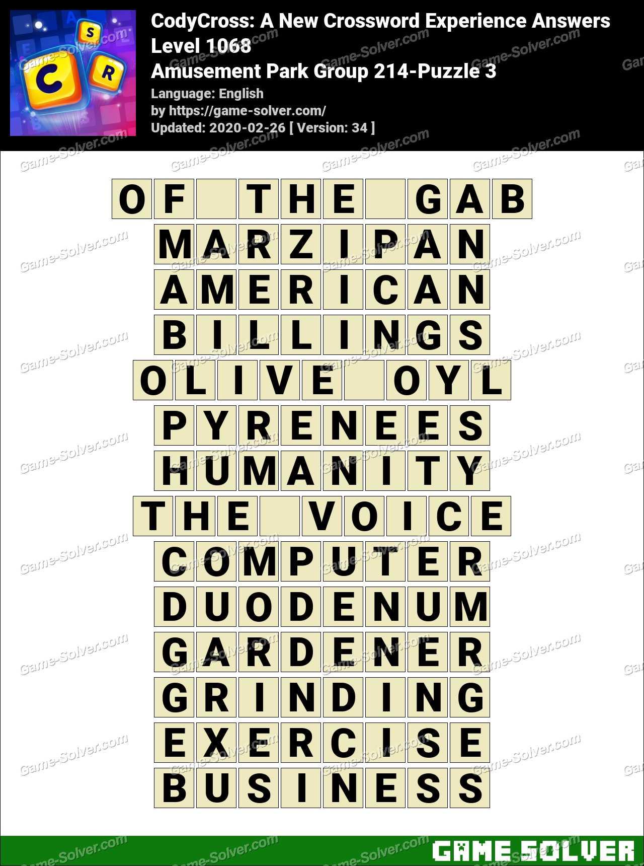 CodyCross Amusement Park Group 214-Puzzle 3 Answers