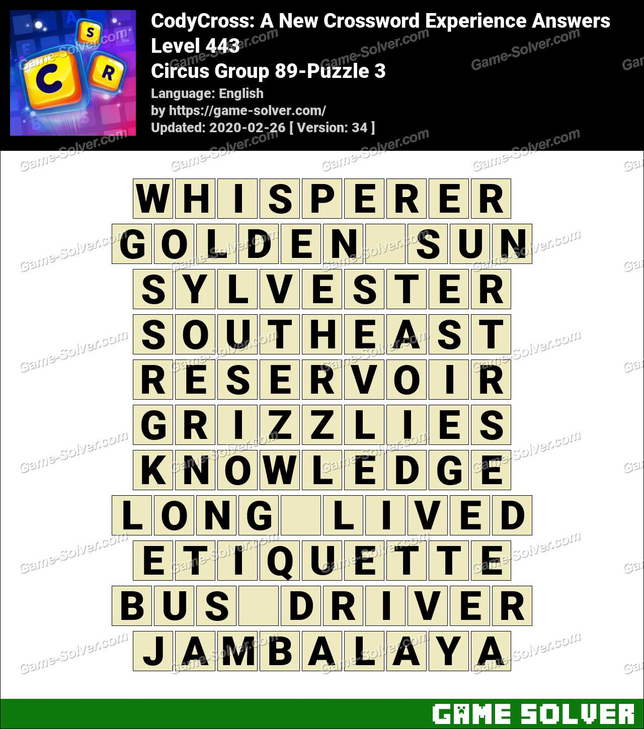 CodyCross Circus Group 89-Puzzle 3 Answers