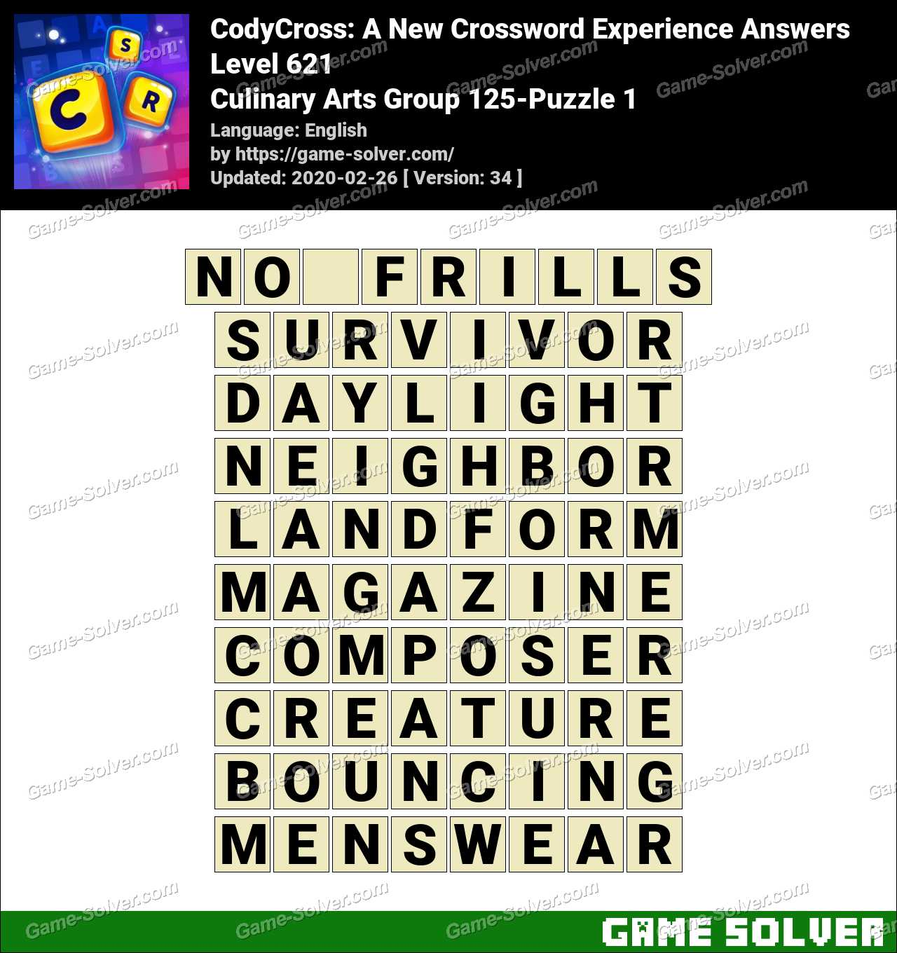 CodyCross Culinary Arts Group 125-Puzzle 1 Answers