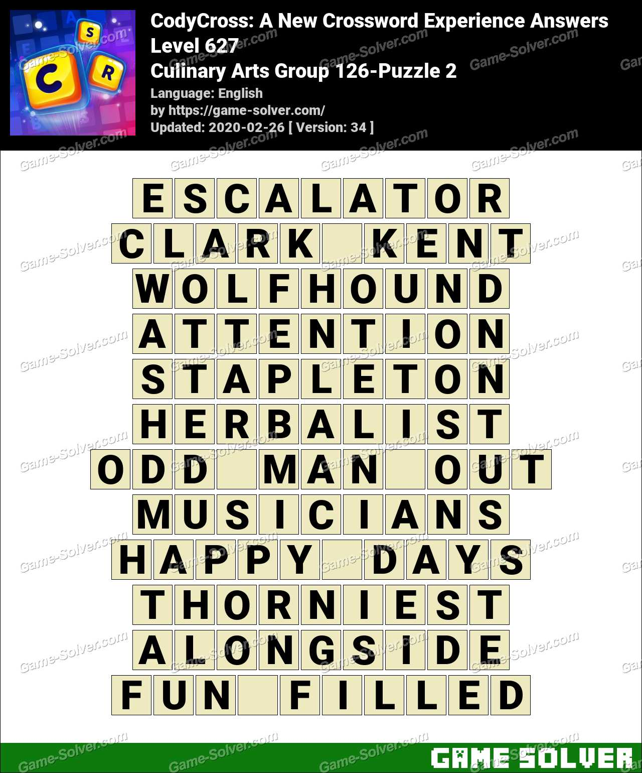 CodyCross Culinary Arts Group 126-Puzzle 2 Answers