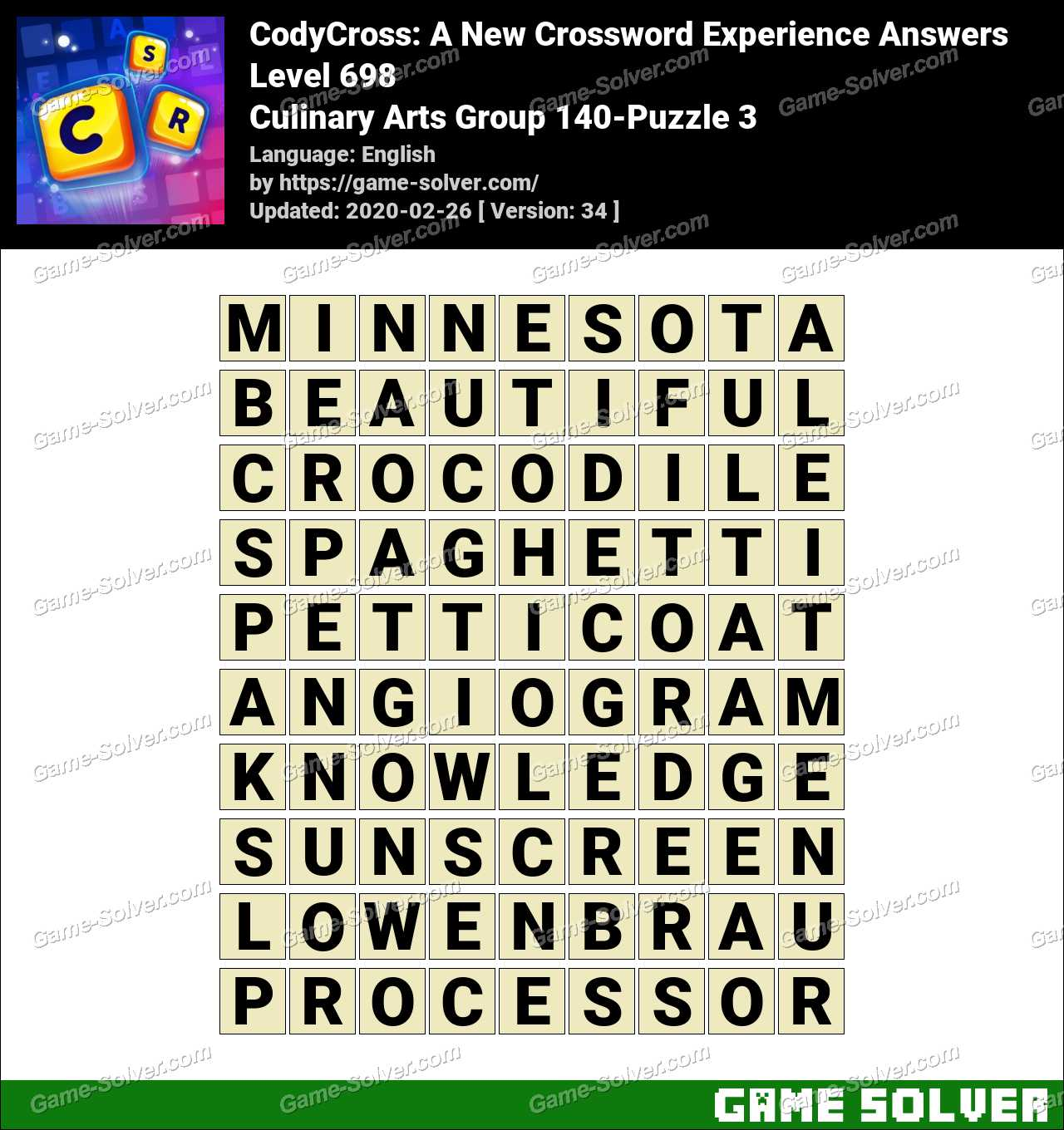CodyCross Culinary Arts Group 140-Puzzle 3 Answers