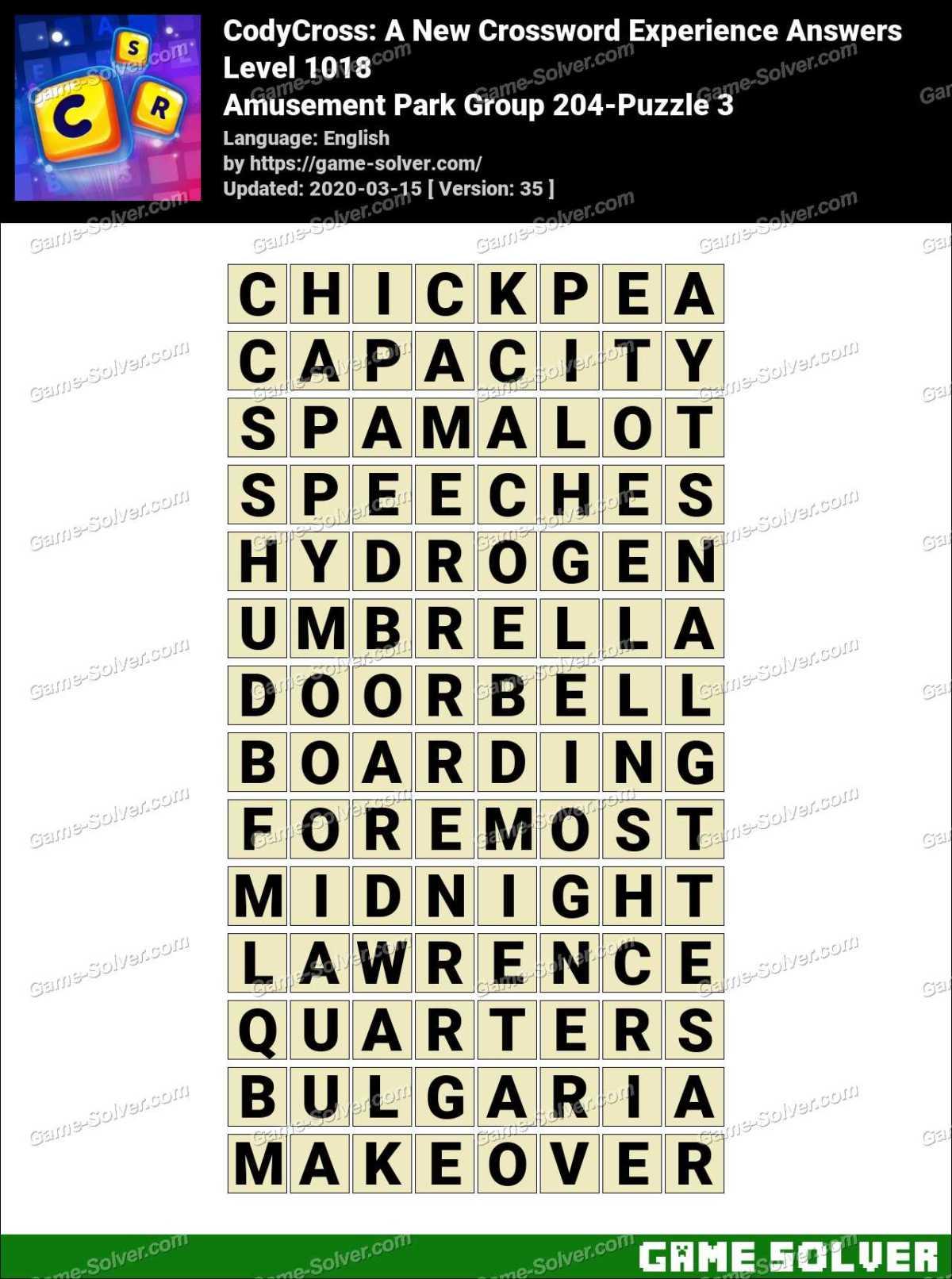 CodyCross Amusement Park Group 204-Puzzle 3 Answers