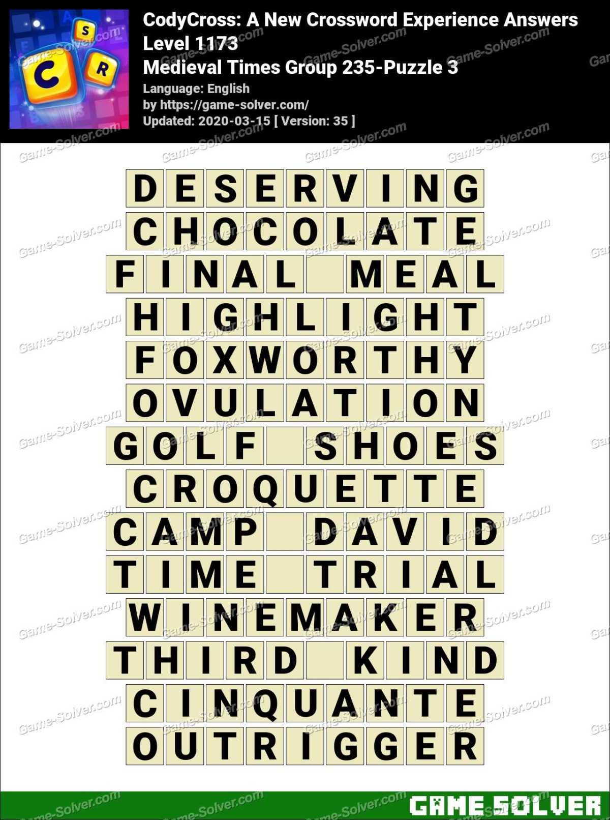 CodyCross Medieval Times Group 235-Puzzle 3 Answers