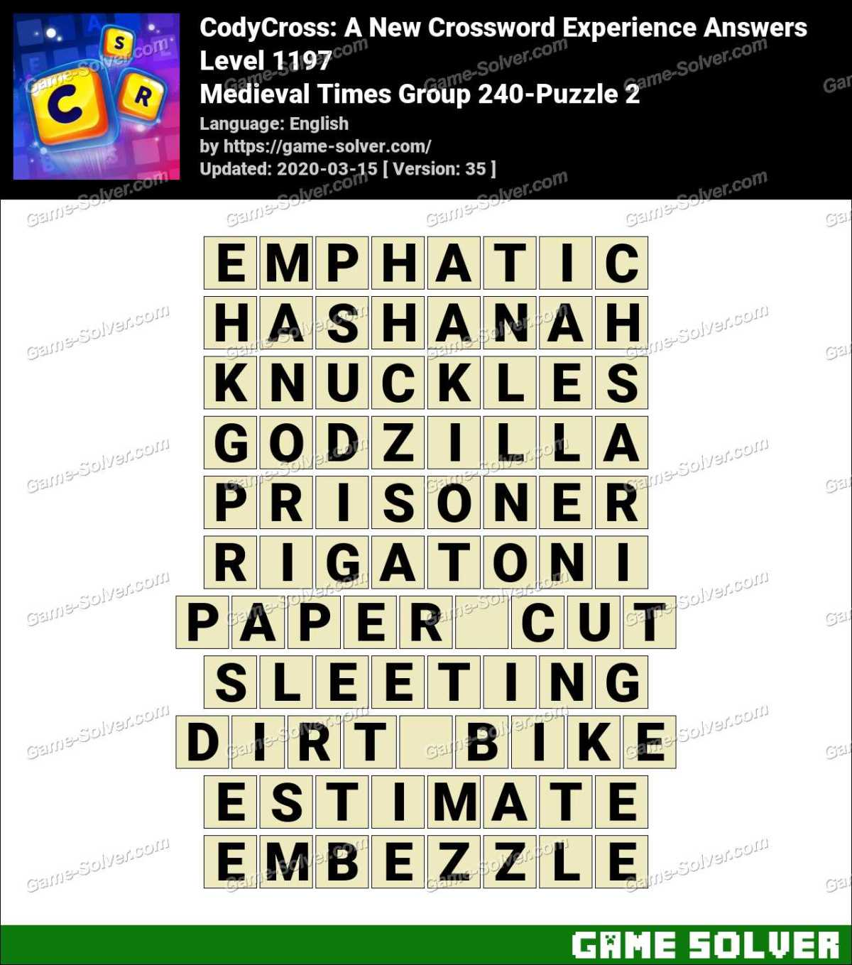 CodyCross Medieval Times Group 240-Puzzle 2 Answers