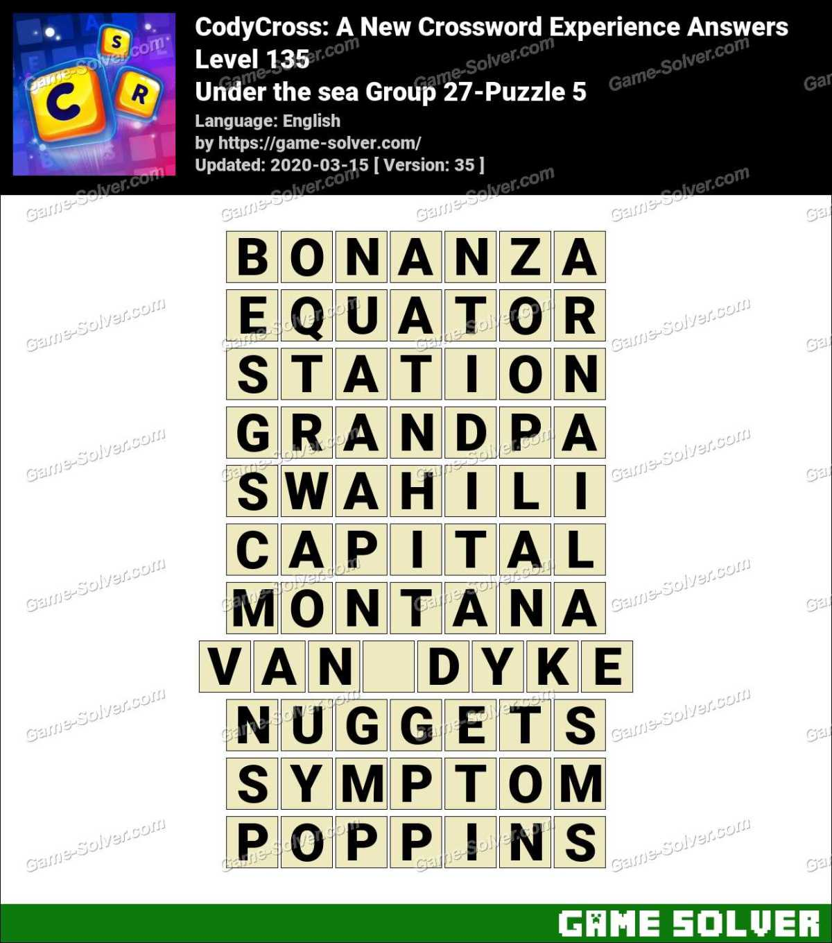 CodyCross Under the sea Group 27-Puzzle 5 Answers