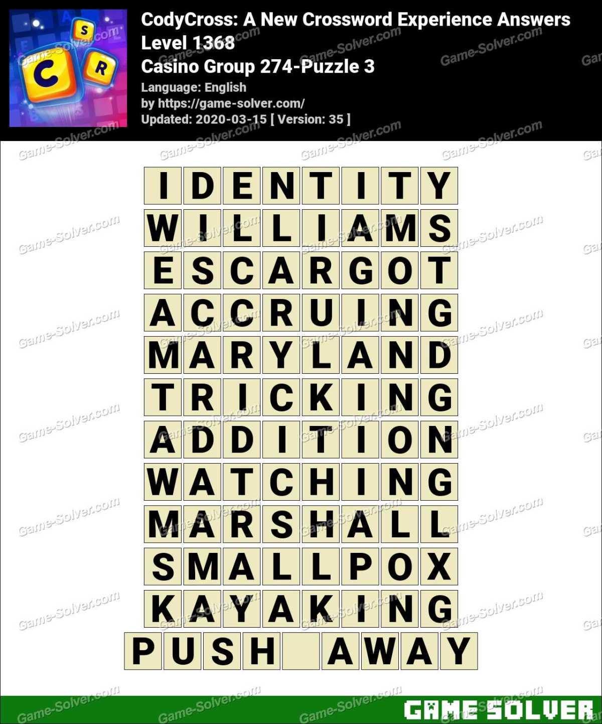 CodyCross Casino Group 274-Puzzle 3 Answers