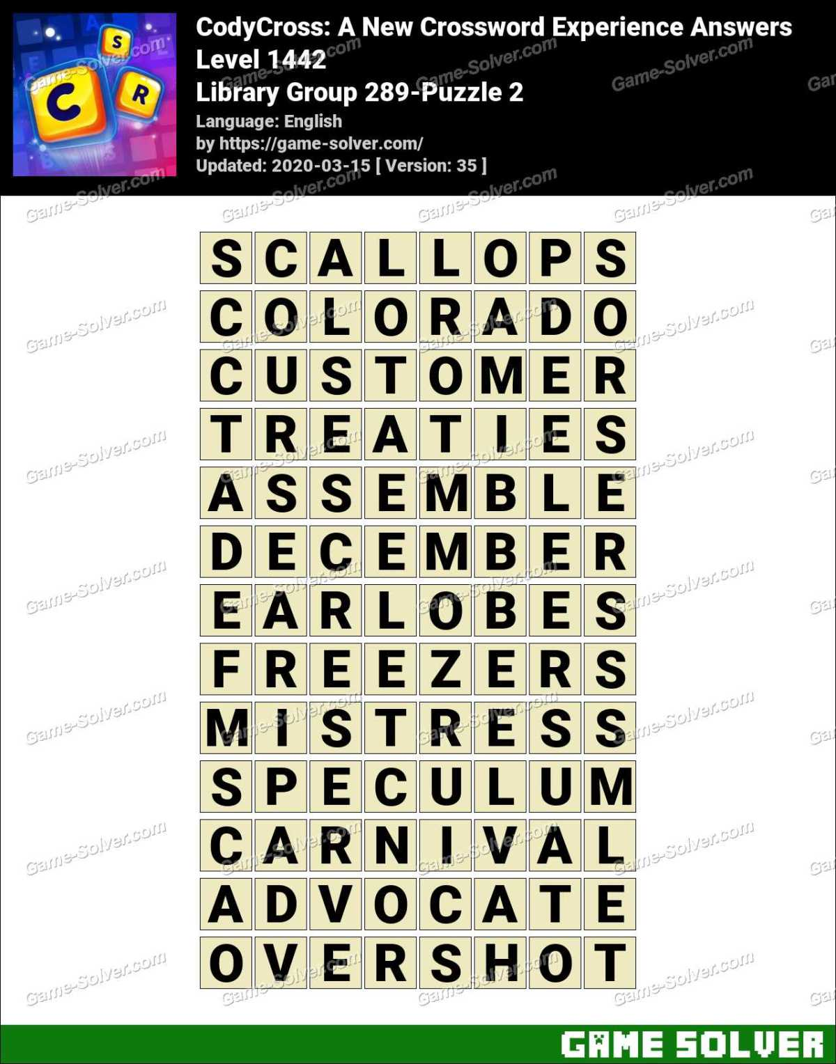 CodyCross Library Group 289-Puzzle 2 Answers