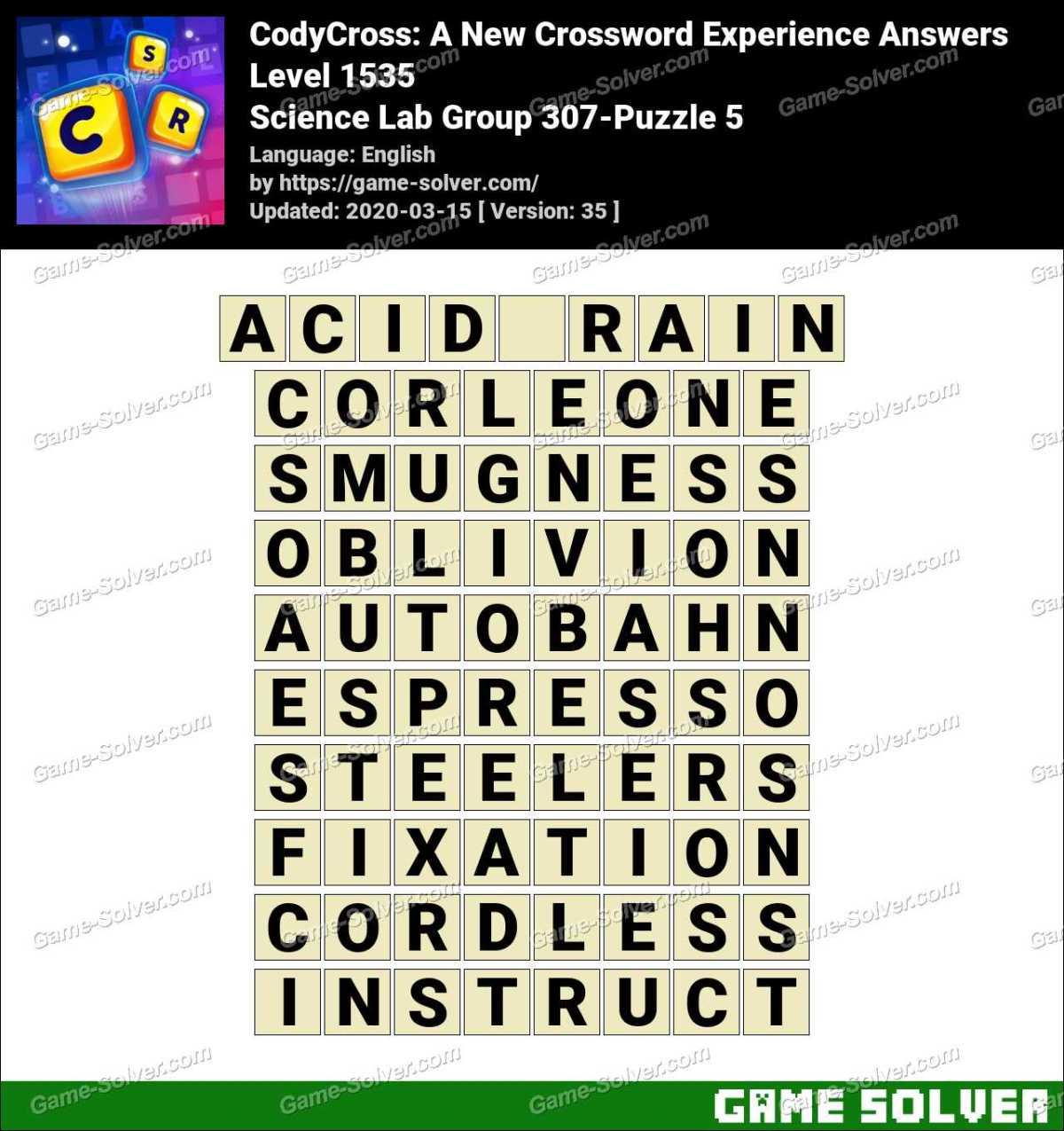 CodyCross Science Lab Group 307-Puzzle 5 Answers