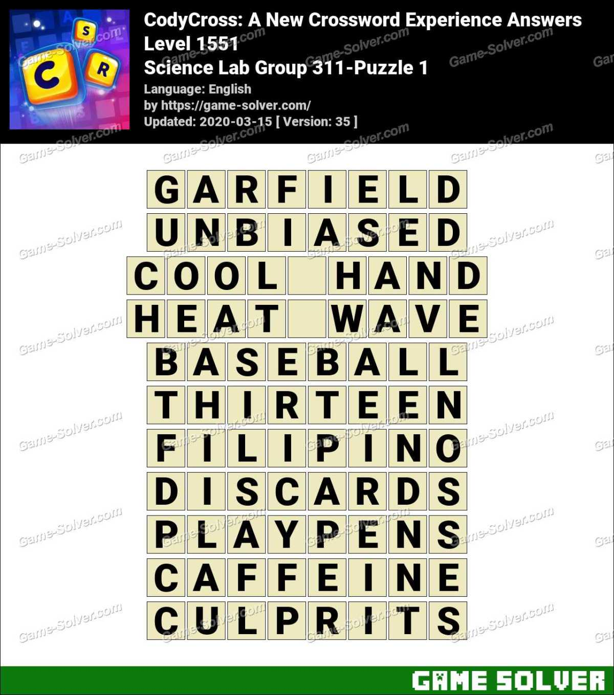 CodyCross Science Lab Group 311-Puzzle 1 Answers