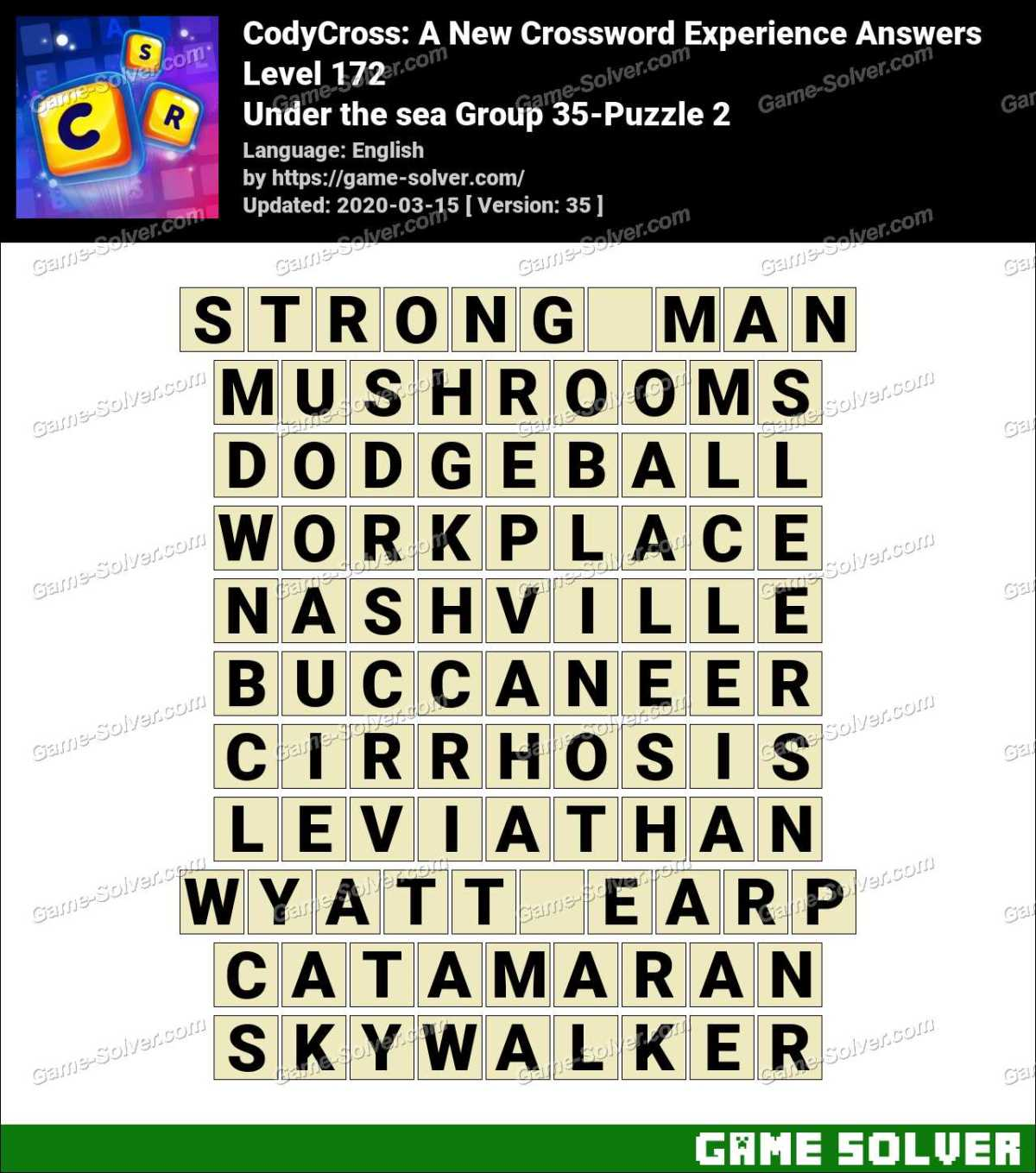 CodyCross Under the sea Group 35-Puzzle 2 Answers