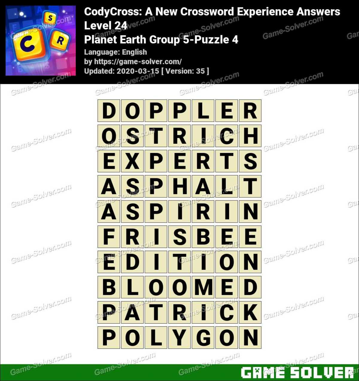 CodyCross Planet Earth Group 5-Puzzle 4 Answers