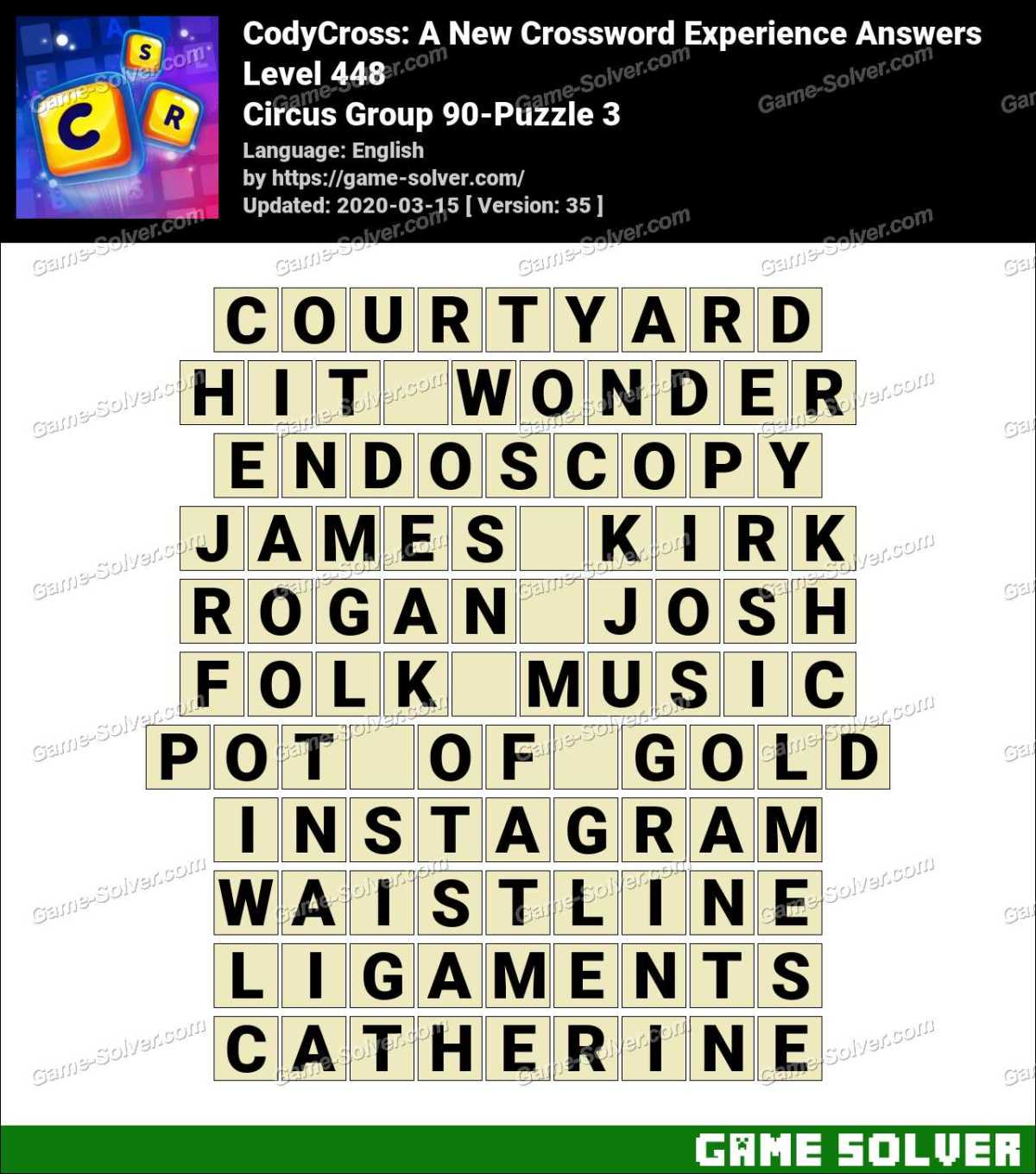 CodyCross Circus Group 90-Puzzle 3 Answers