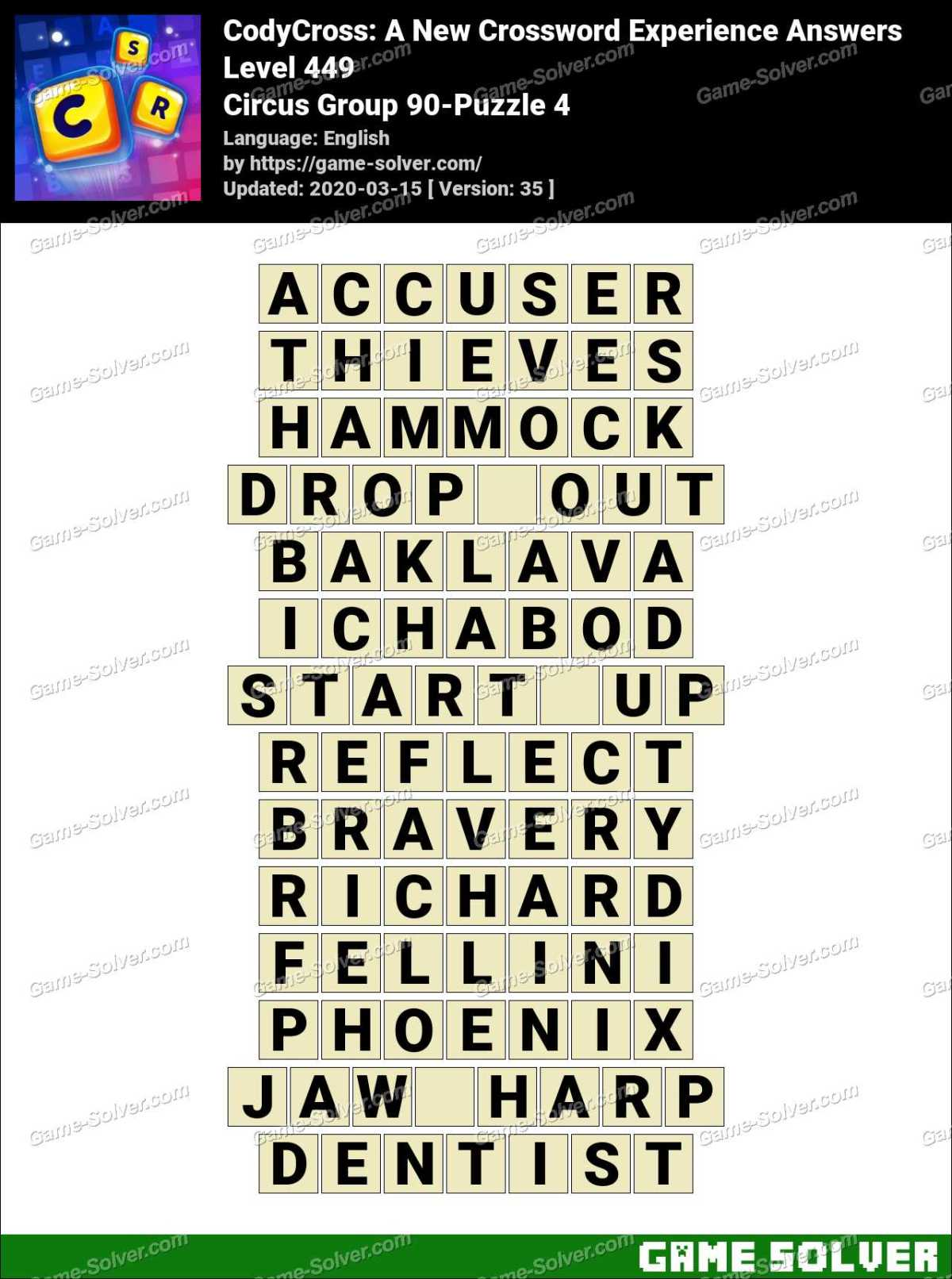 CodyCross Circus Group 90-Puzzle 4 Answers