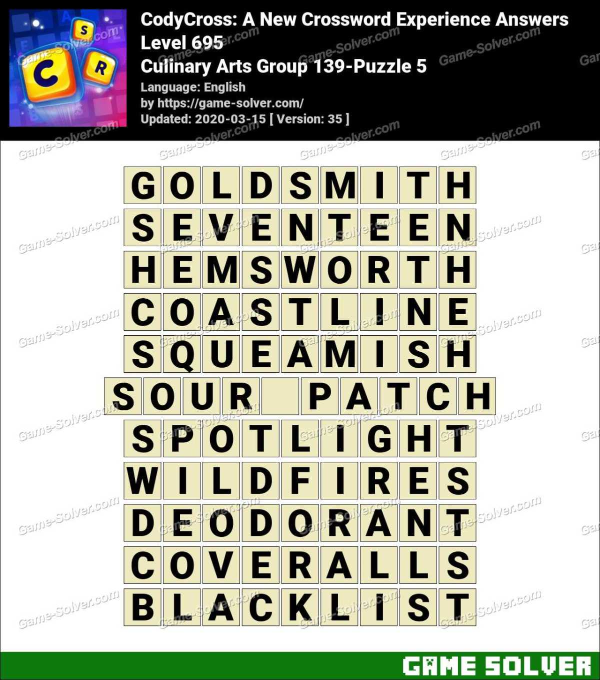 CodyCross Culinary Arts Group 139-Puzzle 5 Answers