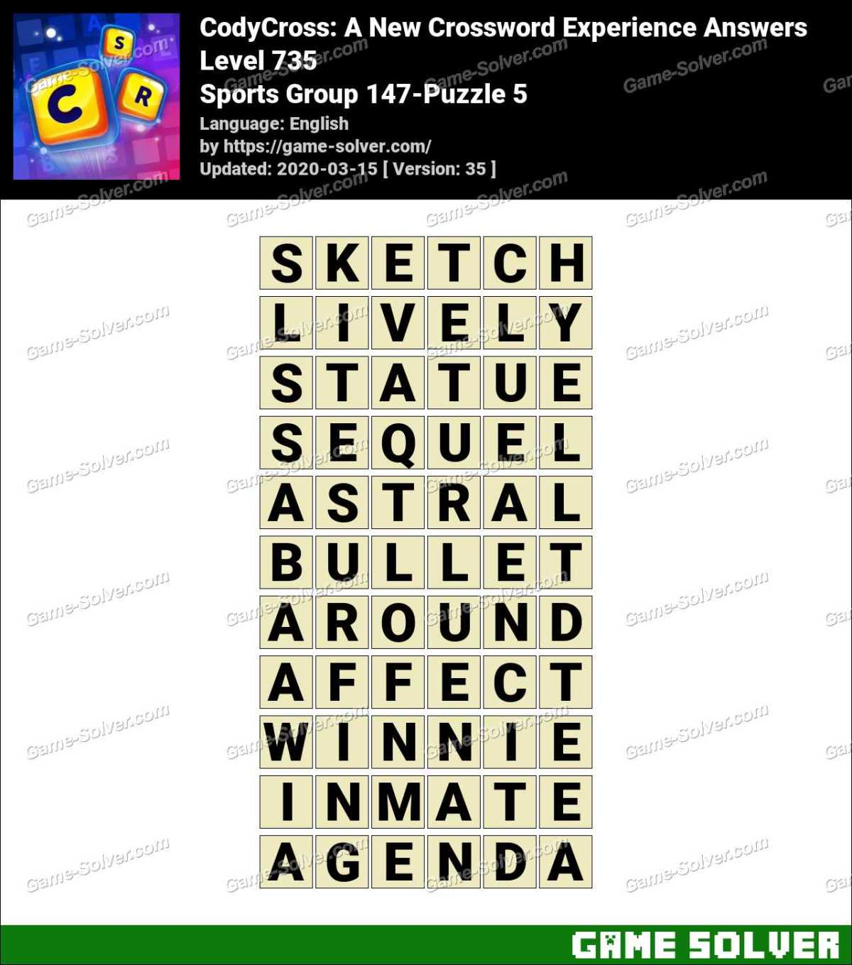 CodyCross Sports Group 147-Puzzle 5 Answers