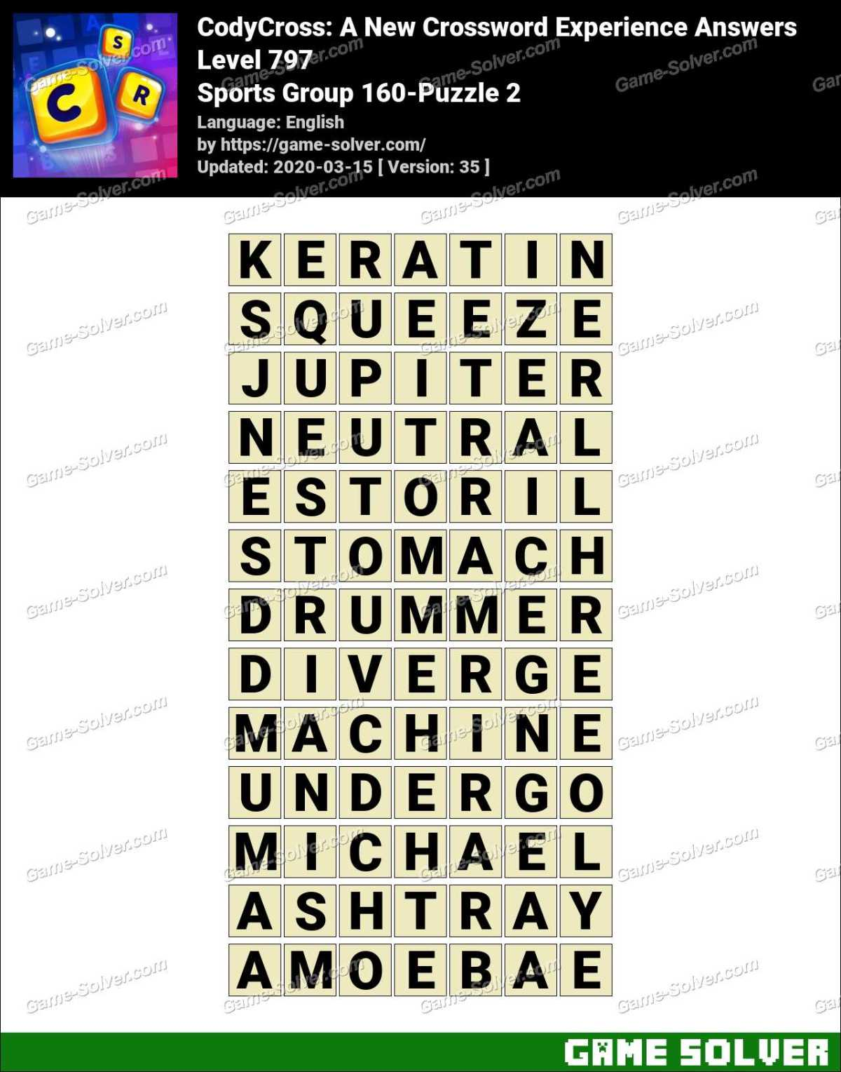 CodyCross Sports Group 160-Puzzle 2 Answers