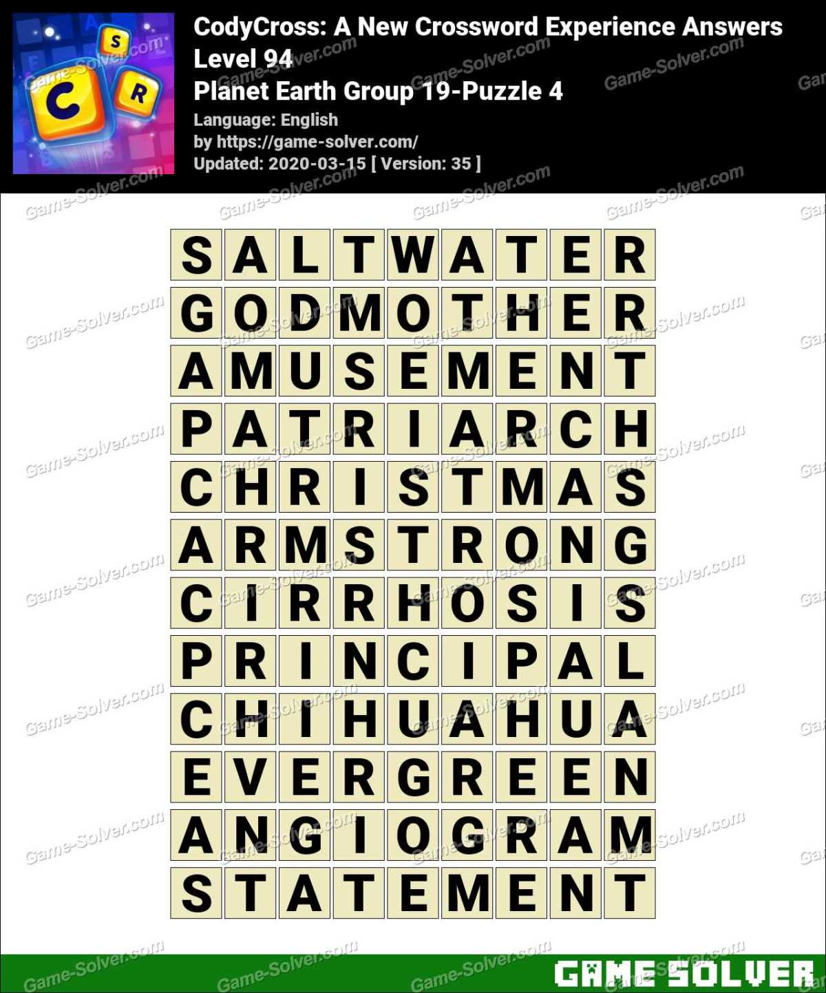 CodyCross Planet Earth Group 19-Puzzle 4 Answers