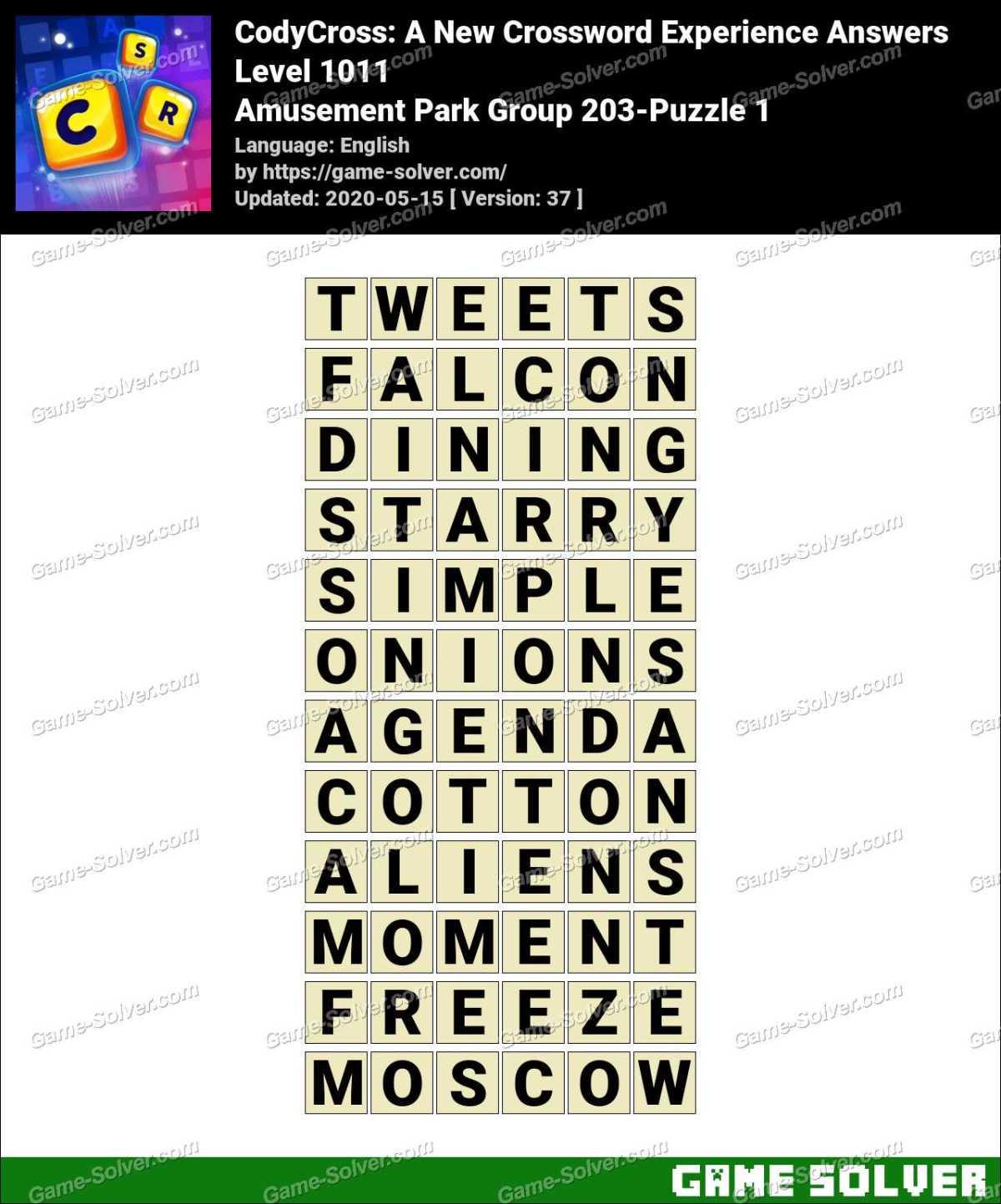 CodyCross Amusement Park Group 203-Puzzle 1 Answers