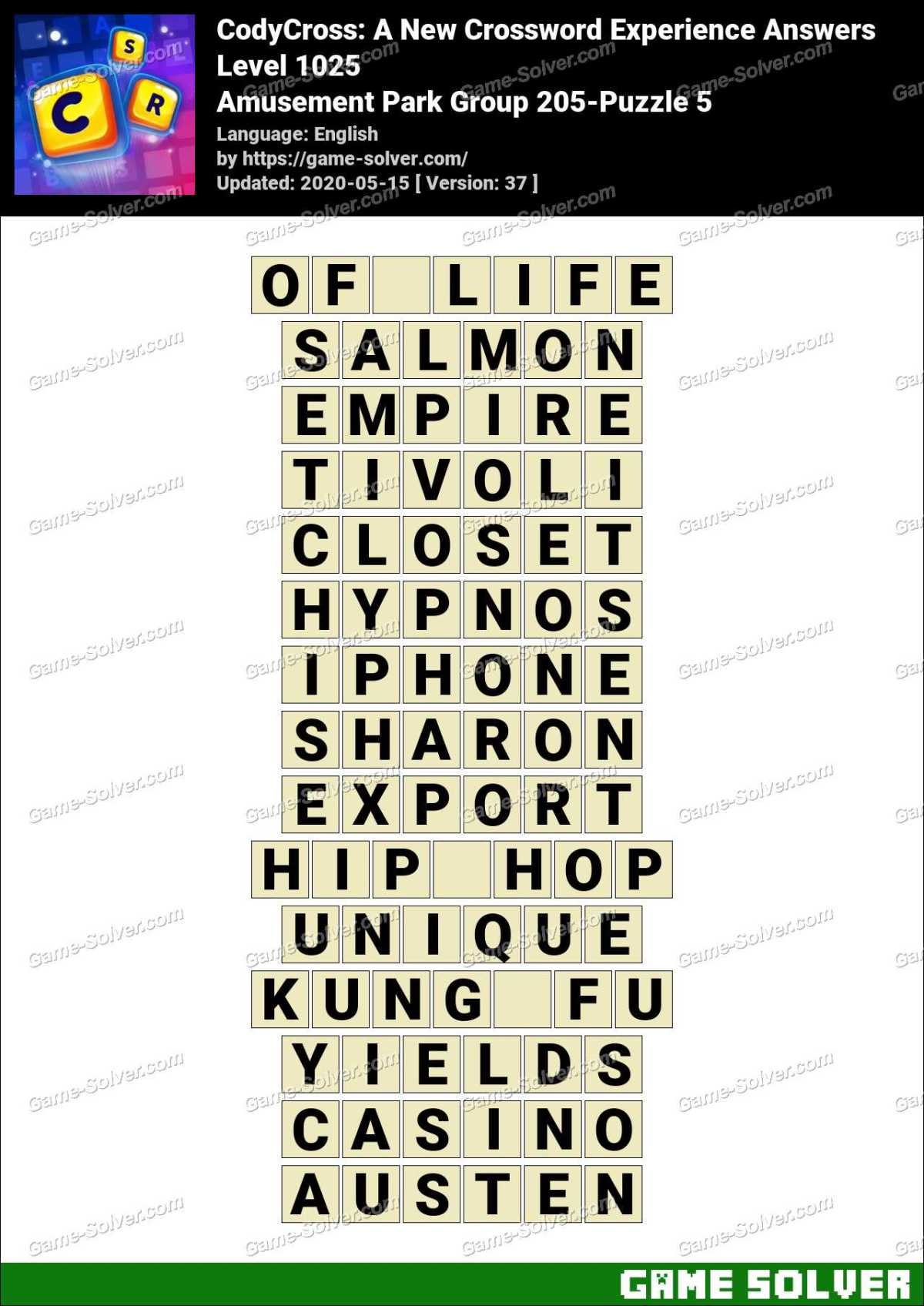 CodyCross Amusement Park Group 205-Puzzle 5 Answers