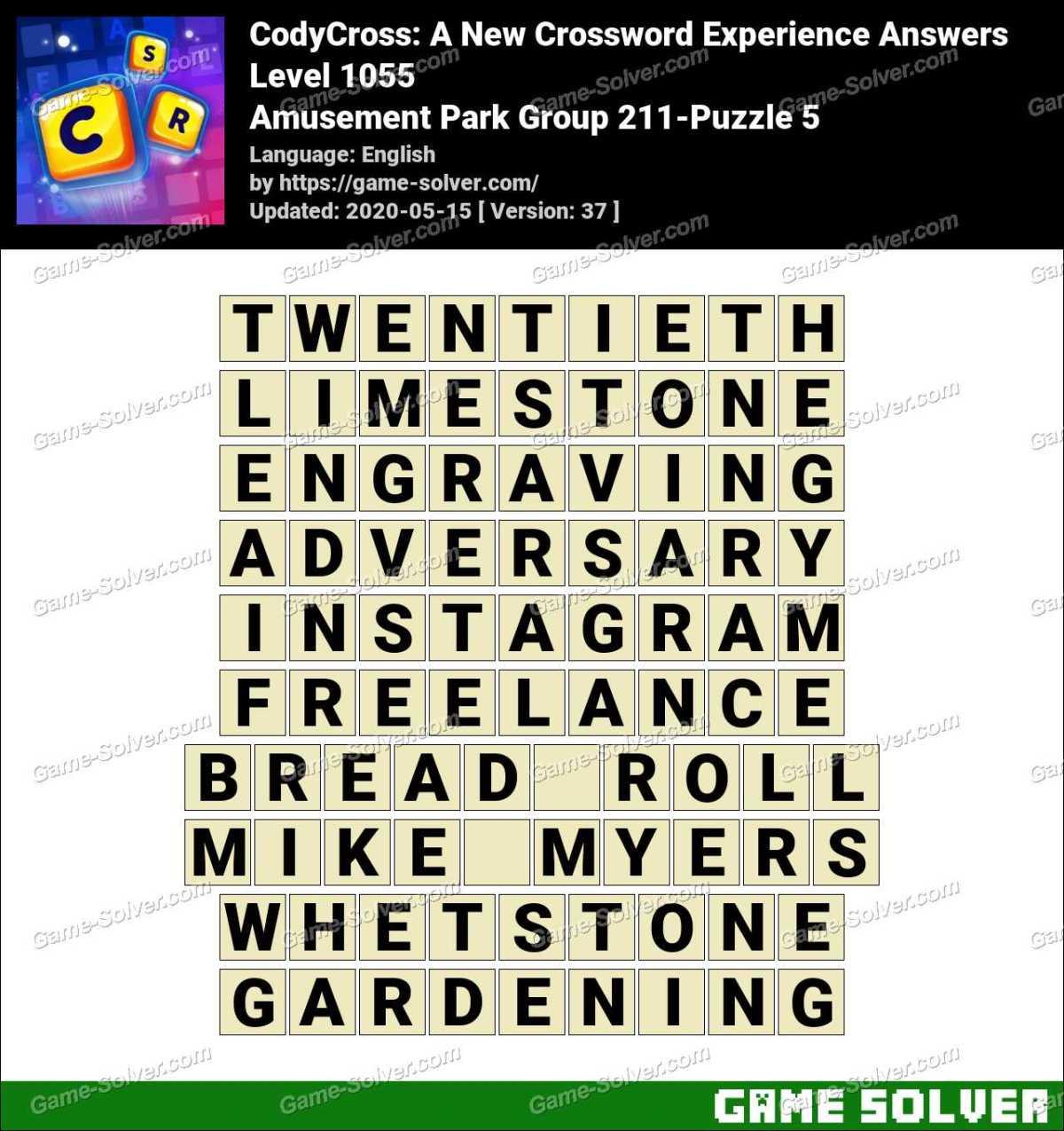 CodyCross Amusement Park Group 211-Puzzle 5 Answers
