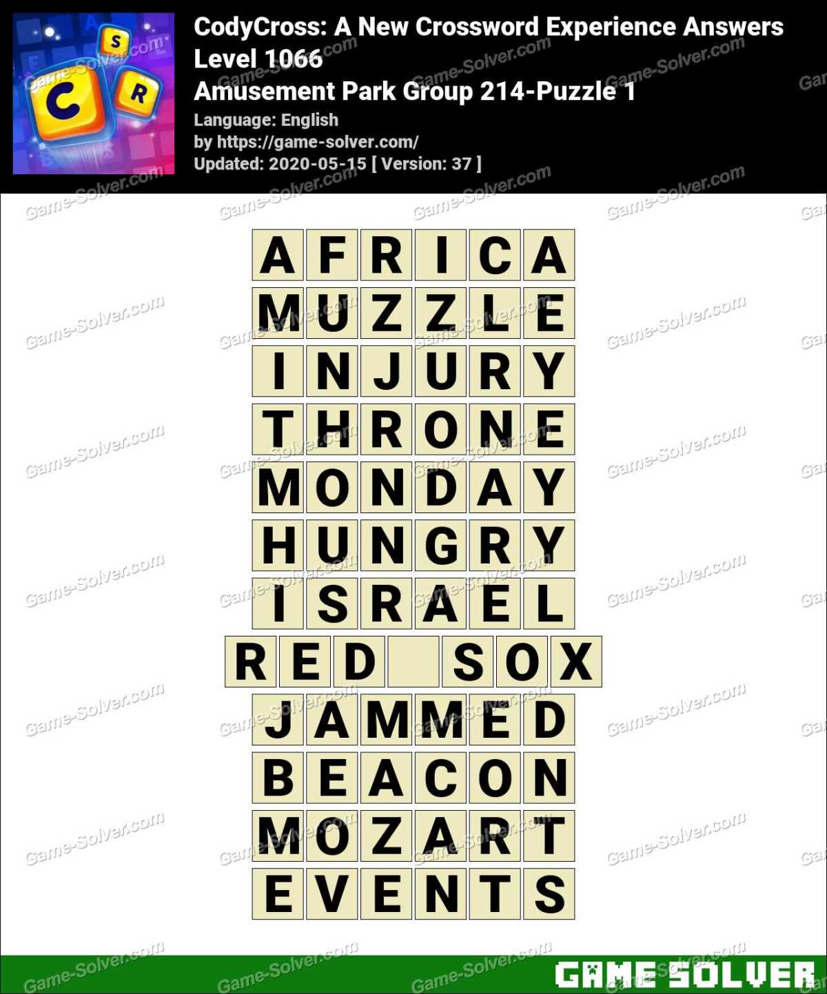 CodyCross Amusement Park Group 214-Puzzle 1 Answers