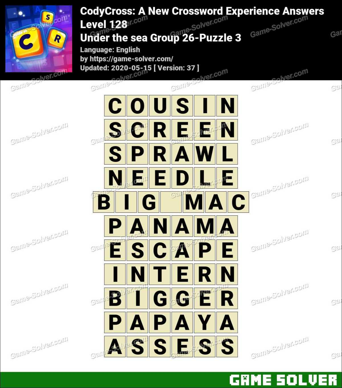 CodyCross Under the sea Group 26-Puzzle 3 Answers