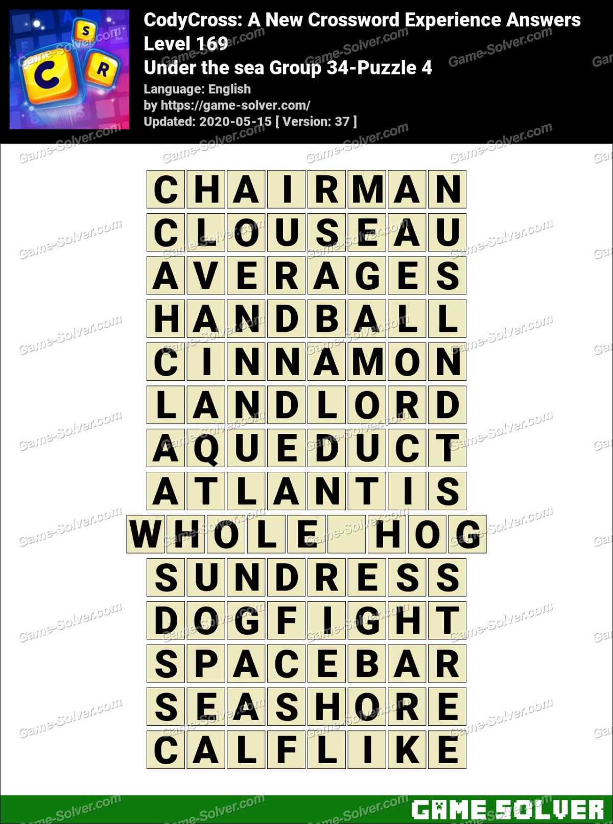 CodyCross Under the sea Group 34-Puzzle 4 Answers