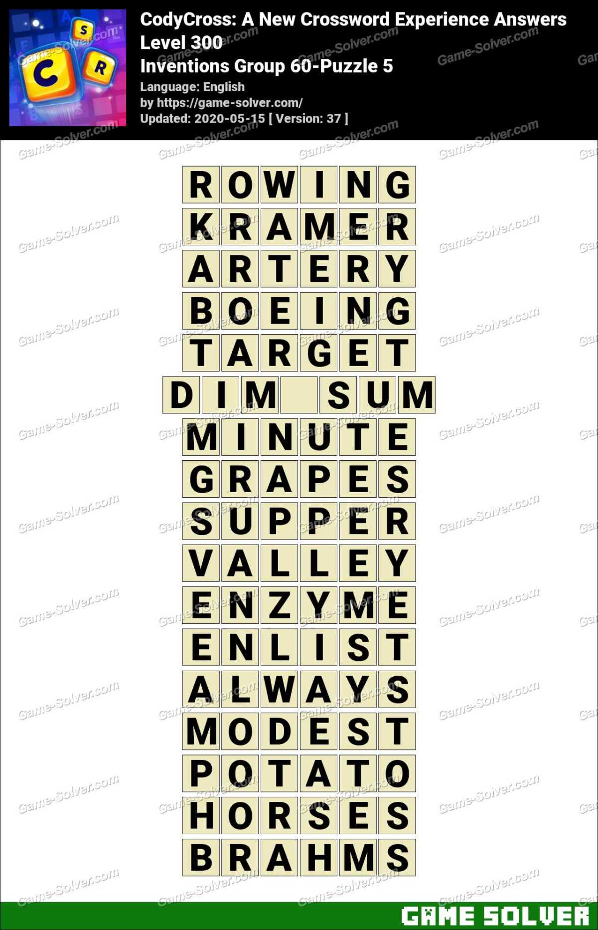 CodyCross Inventions Group 60-Puzzle 5 Answers