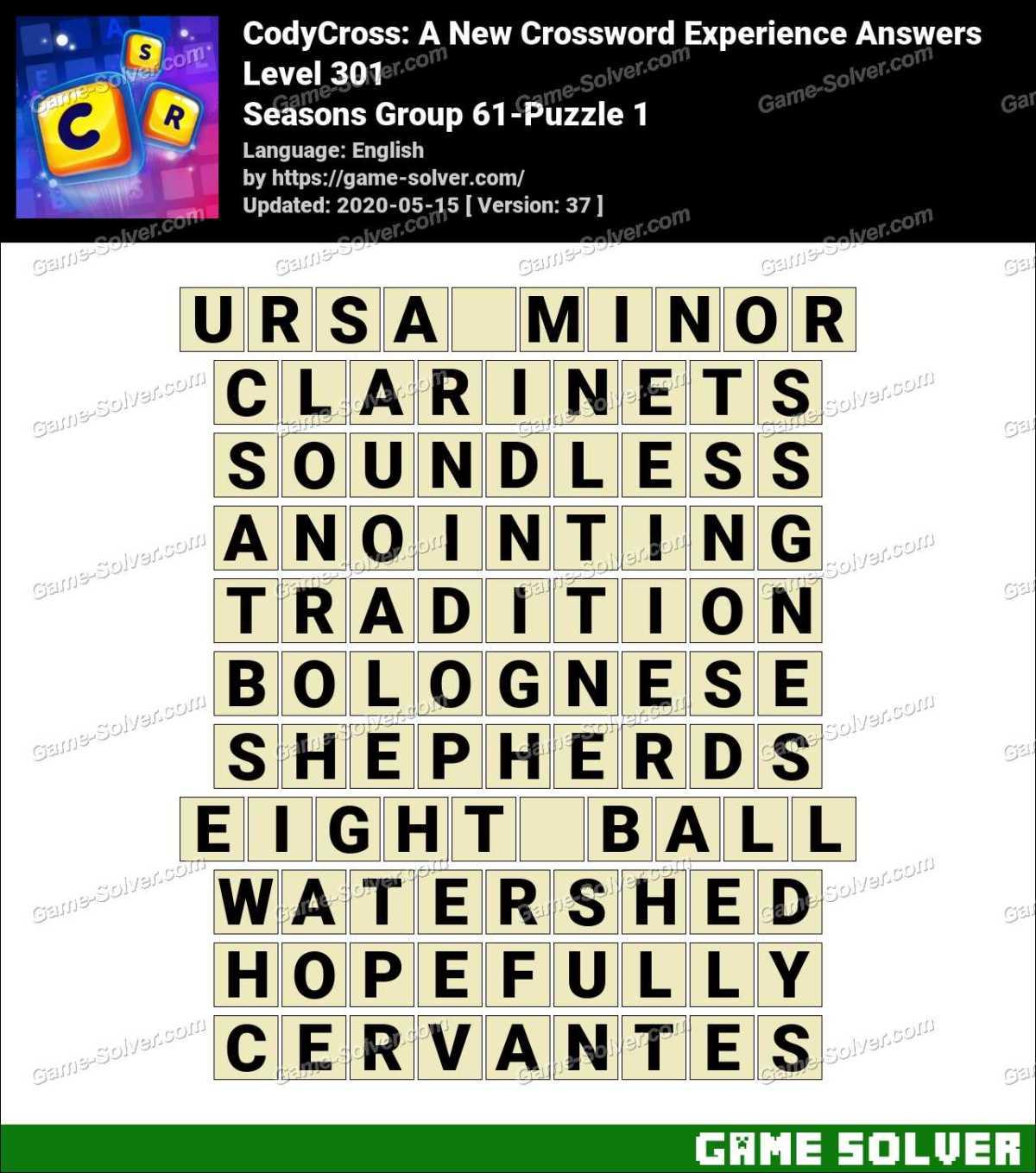 CodyCross Seasons Group 61-Puzzle 1 Answers