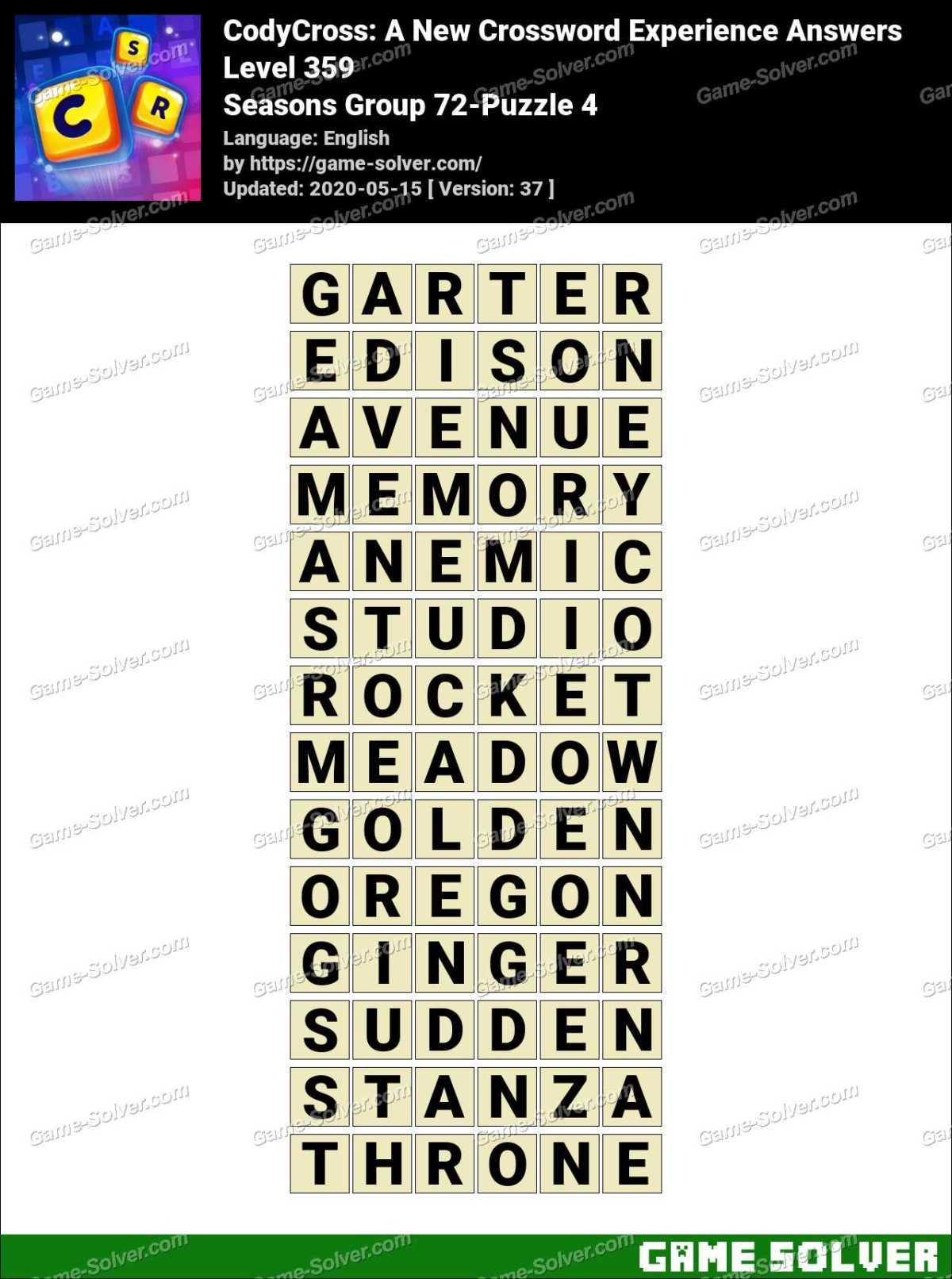 CodyCross Seasons Group 72-Puzzle 4 Answers