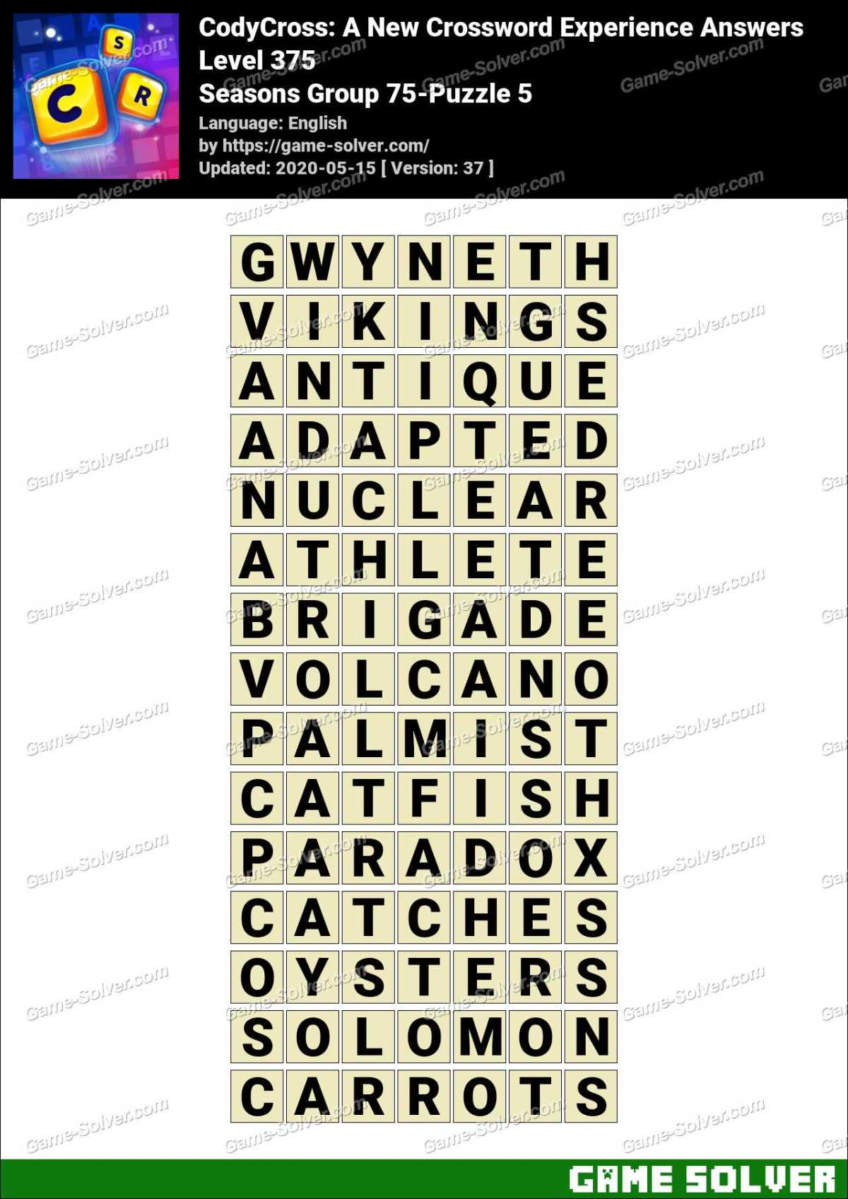 CodyCross Seasons Group 75-Puzzle 5 Answers