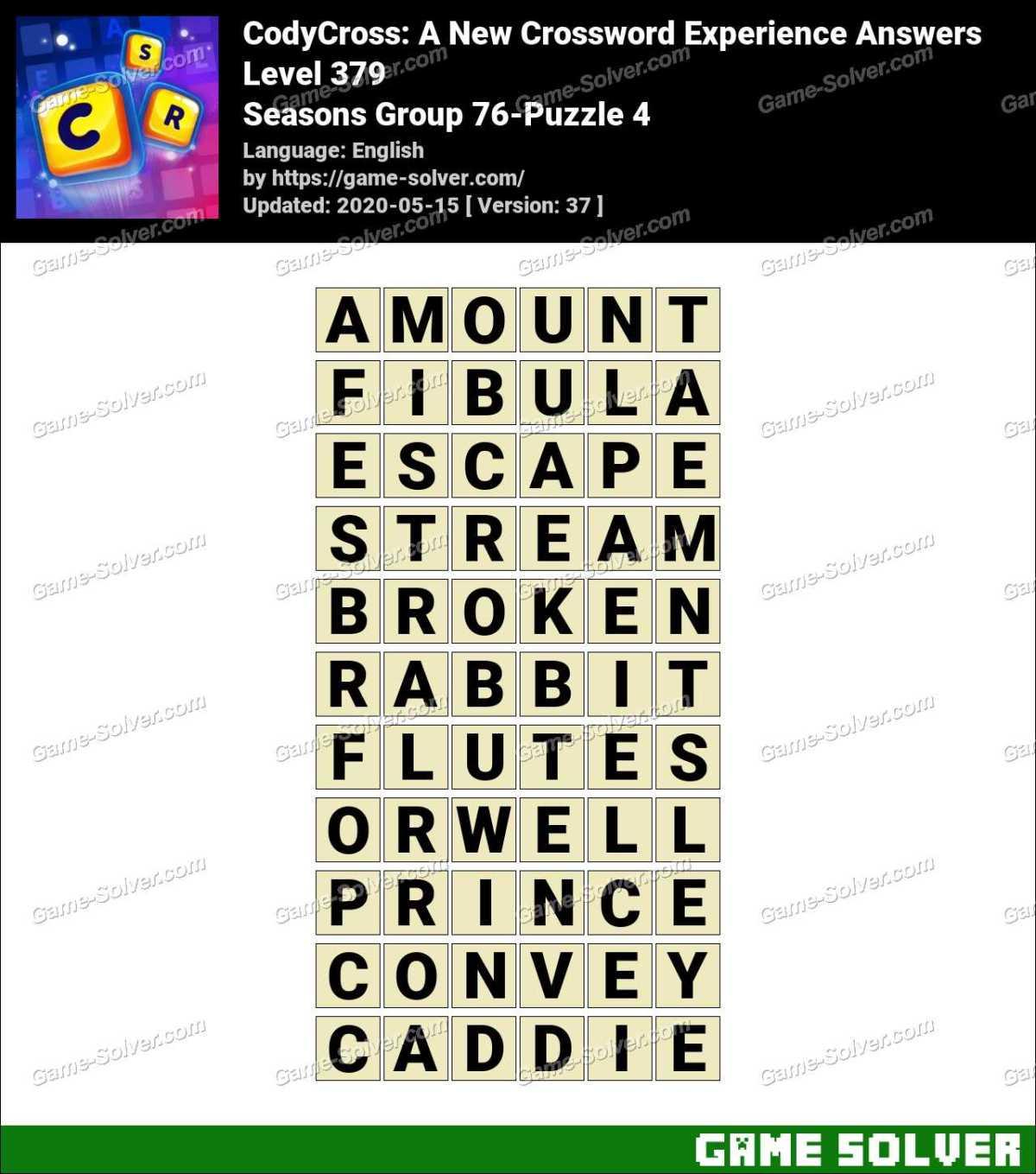 CodyCross Seasons Group 76-Puzzle 4 Answers