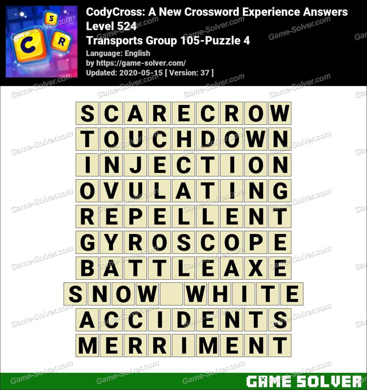 CodyCross Transports Group 105-Puzzle 4 Answers