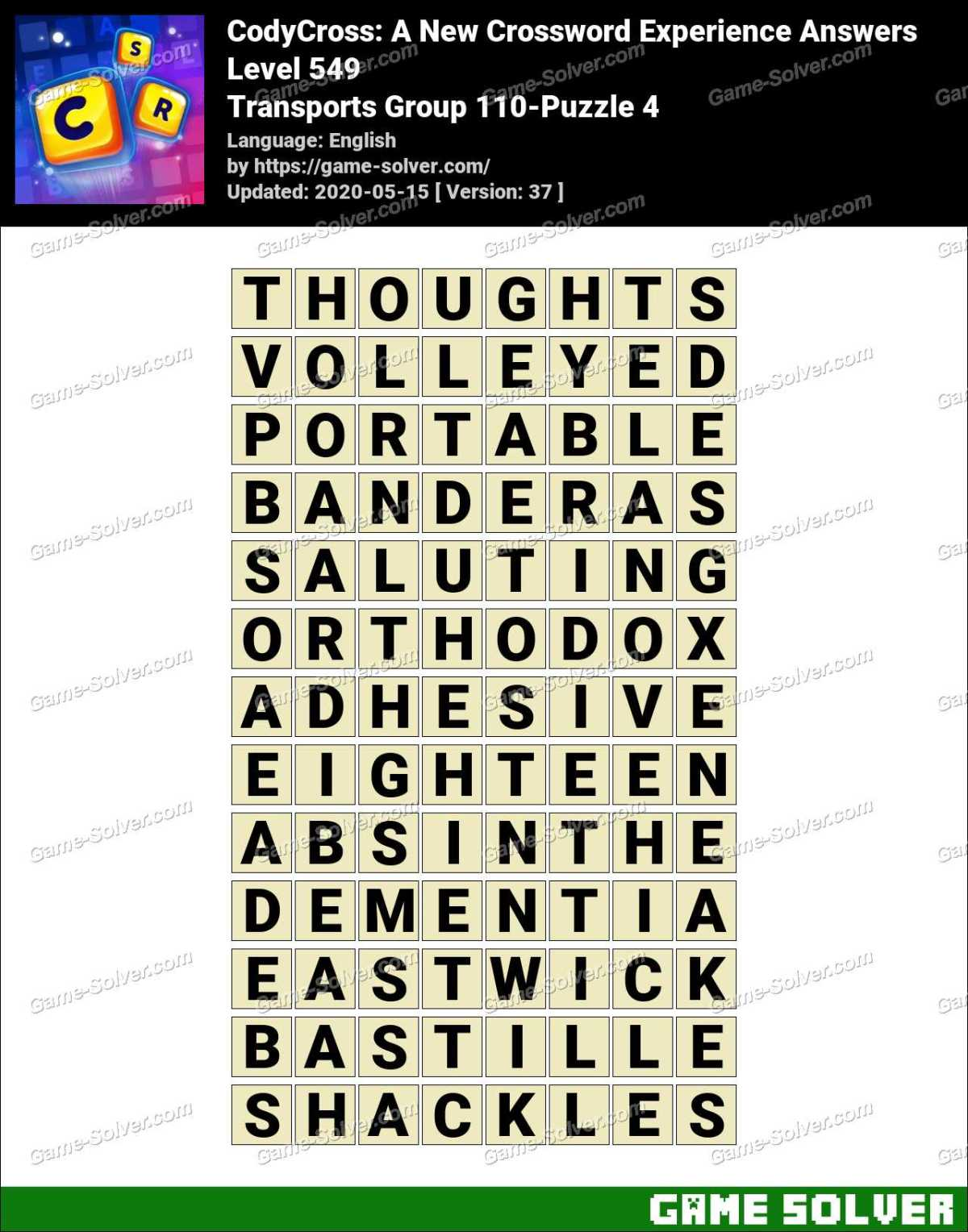 CodyCross Transports Group 110-Puzzle 4 Answers