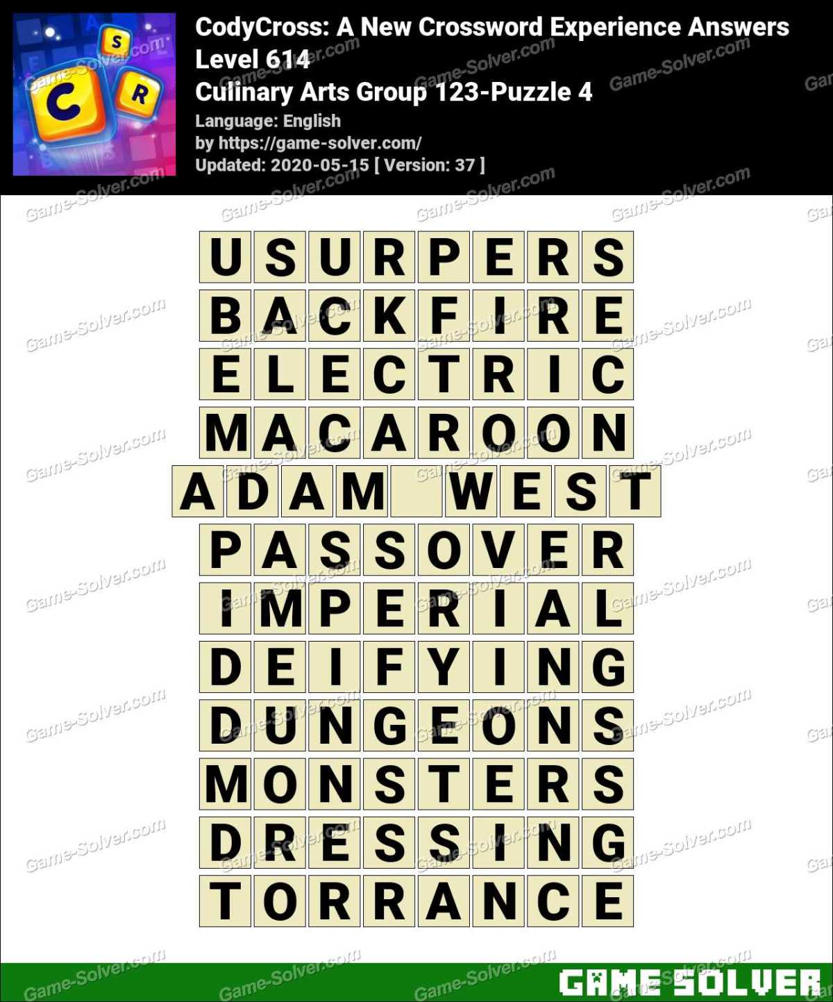 CodyCross Culinary Arts Group 123-Puzzle 4 Answers