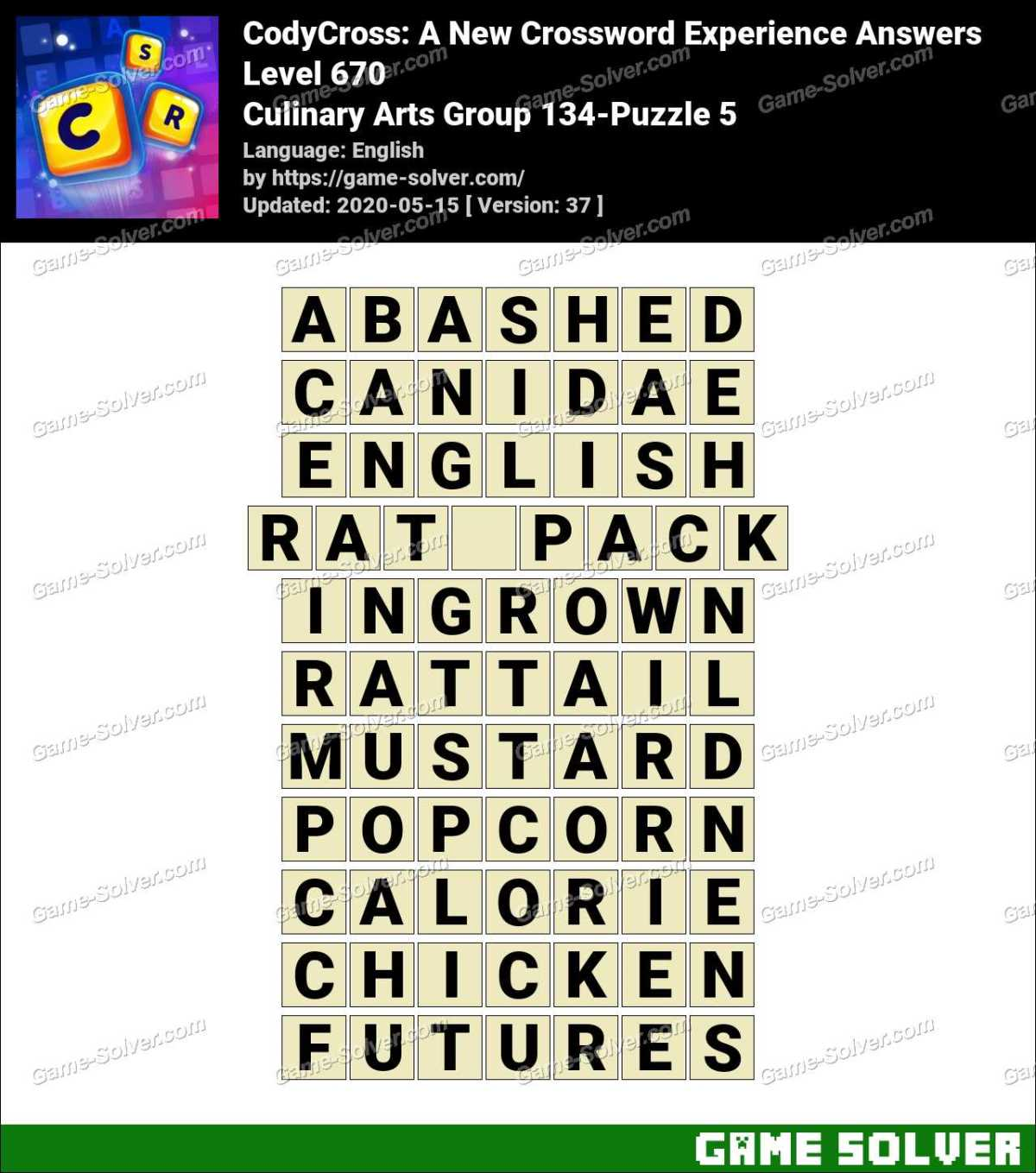 CodyCross Culinary Arts Group 134-Puzzle 5 Answers