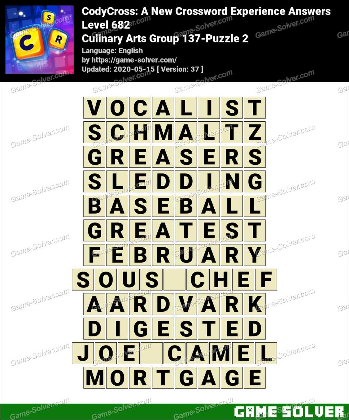 CodyCross Culinary Arts Group 137-Puzzle 2 Answers