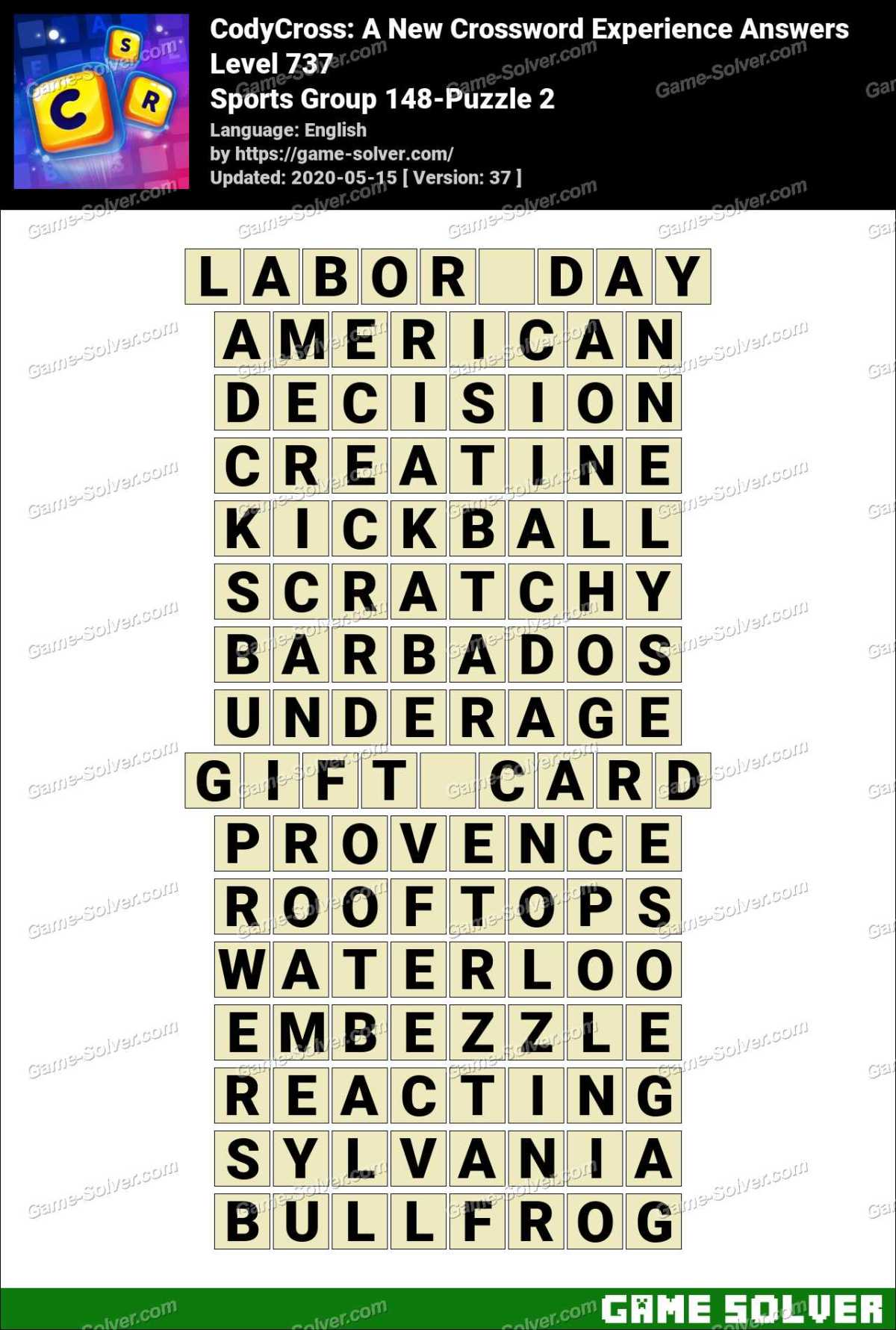 CodyCross Sports Group 148-Puzzle 2 Answers