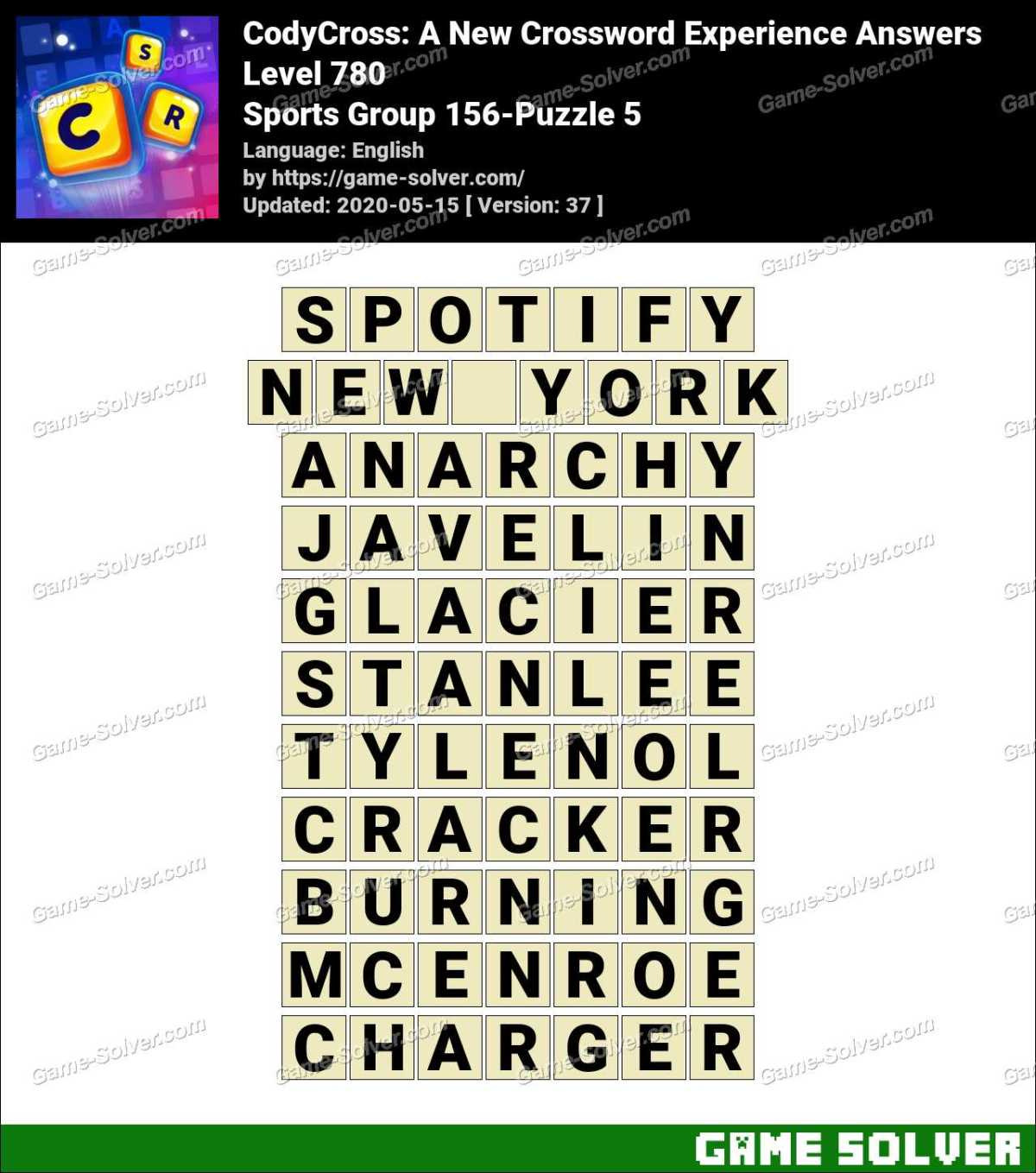 CodyCross Sports Group 156-Puzzle 5 Answers