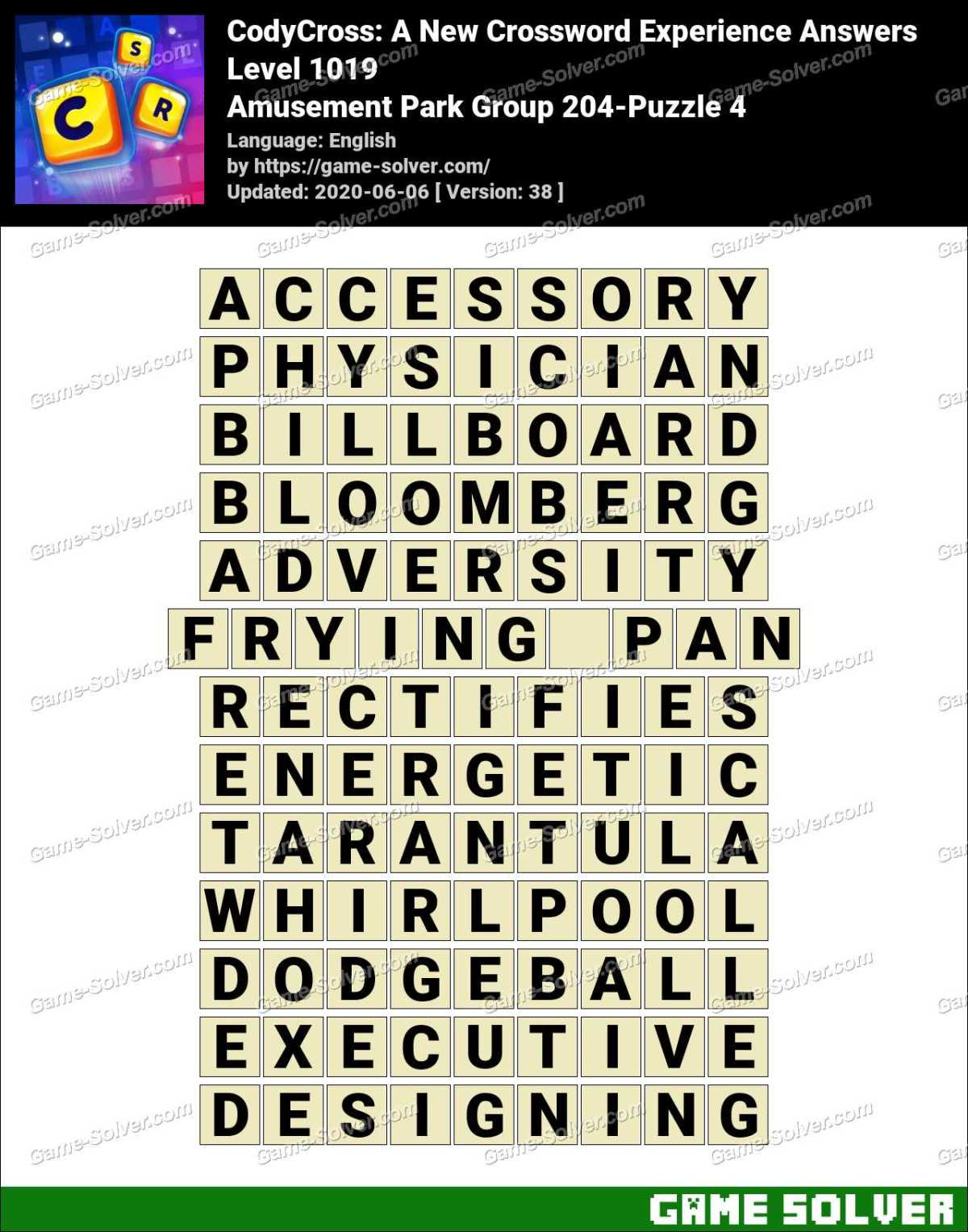 CodyCross Amusement Park Group 204-Puzzle 4 Answers