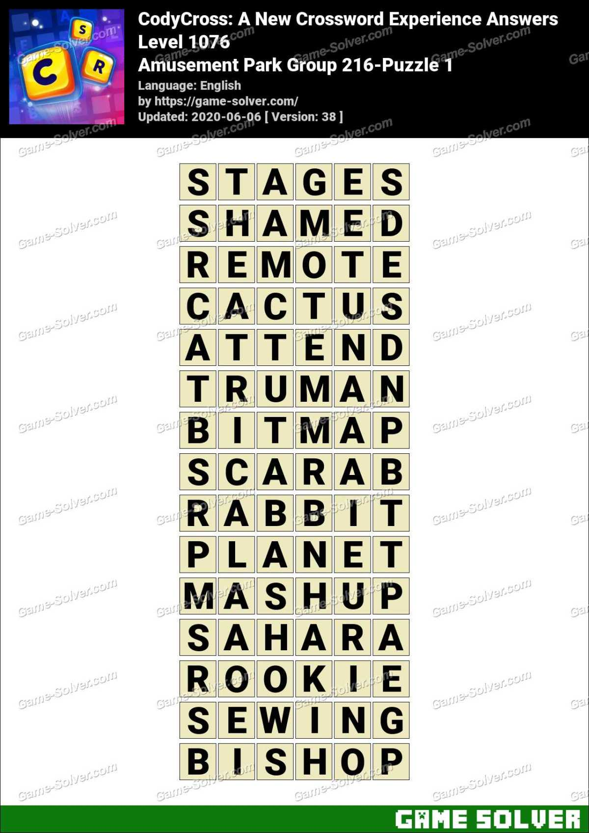 CodyCross Amusement Park Group 216-Puzzle 1 Answers