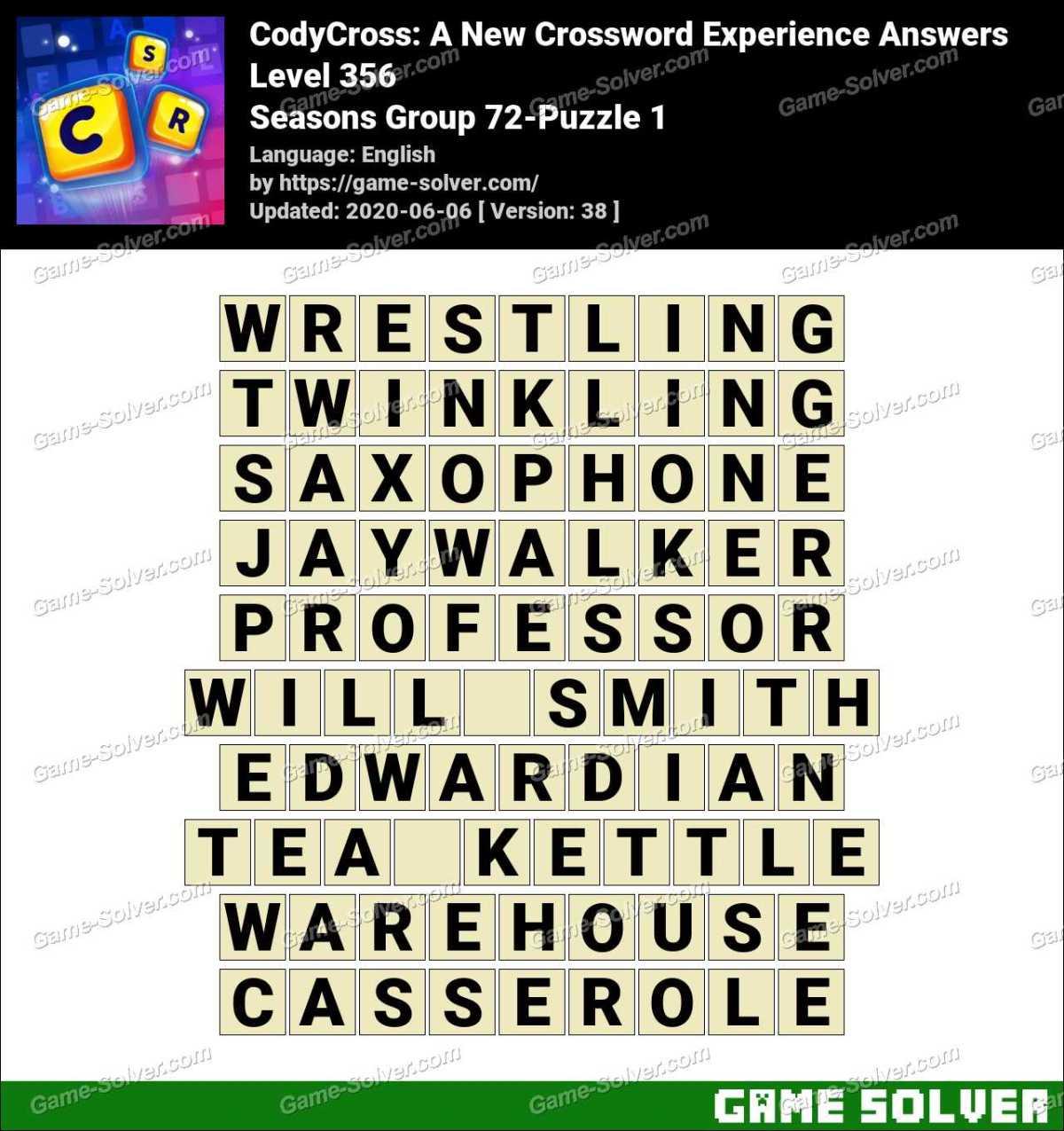 CodyCross Seasons Group 72-Puzzle 1 Answers