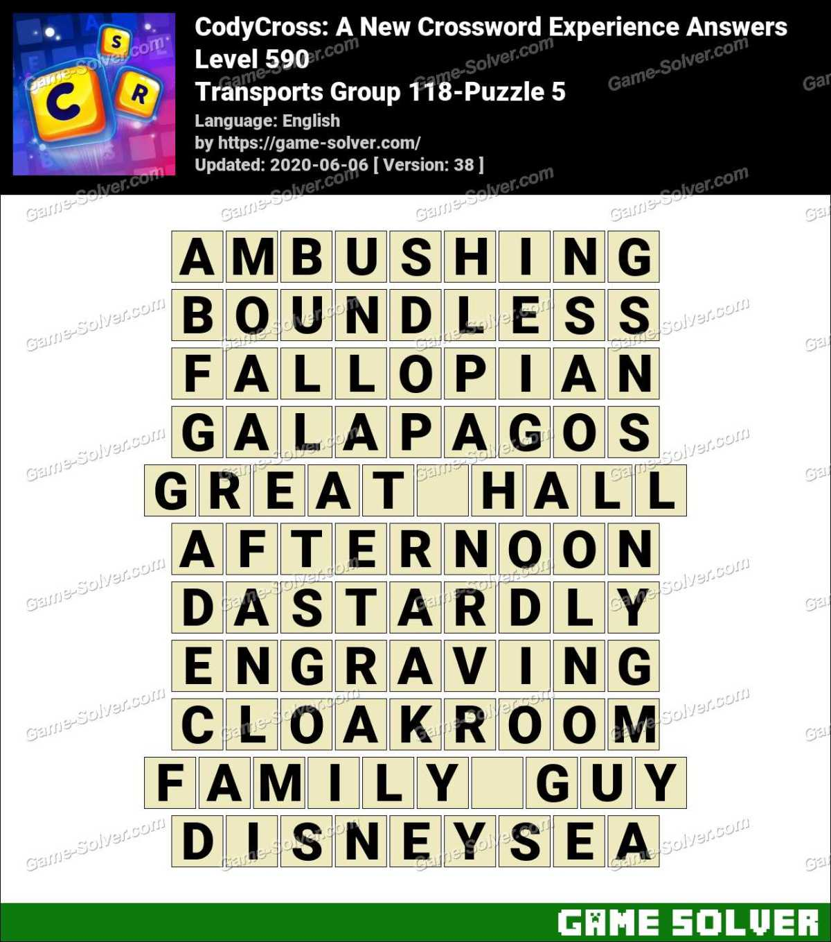 CodyCross Transports Group 118-Puzzle 5 Answers