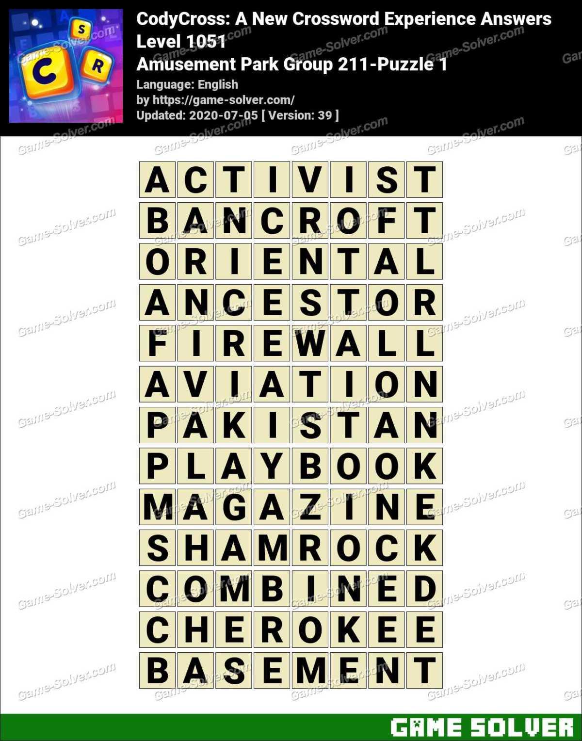 CodyCross Amusement Park Group 211-Puzzle 1 Answers