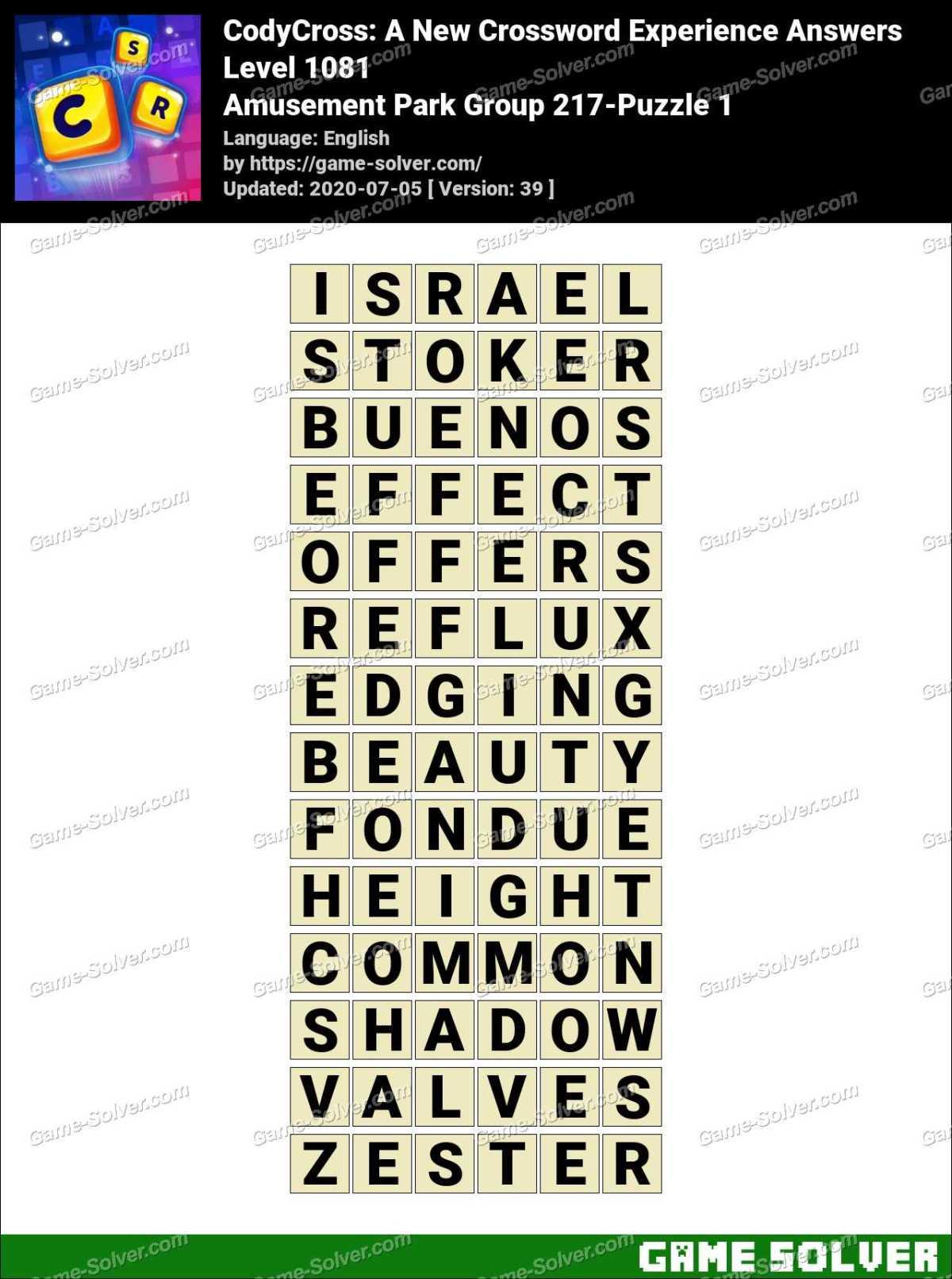 CodyCross Amusement Park Group 217-Puzzle 1 Answers