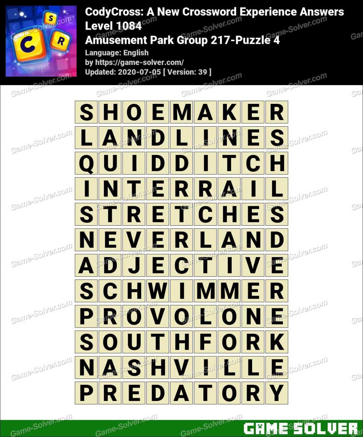 CodyCross Amusement Park Group 217-Puzzle 4 Answers