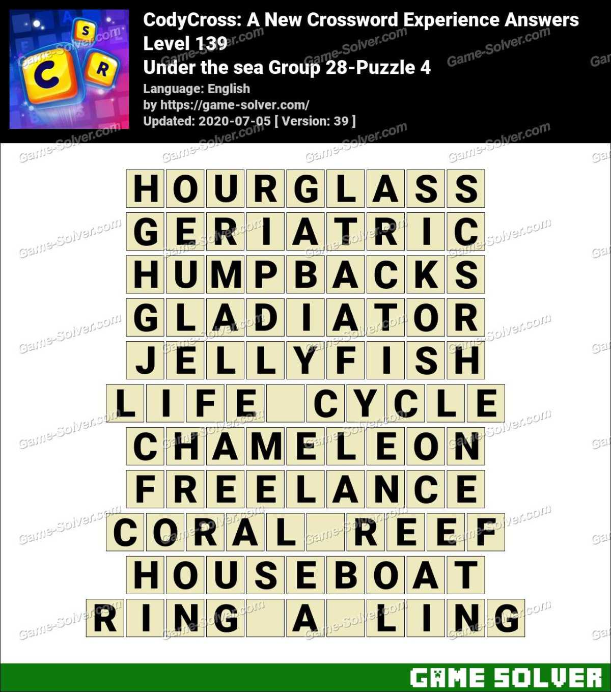CodyCross Under the sea Group 28-Puzzle 4 Answers